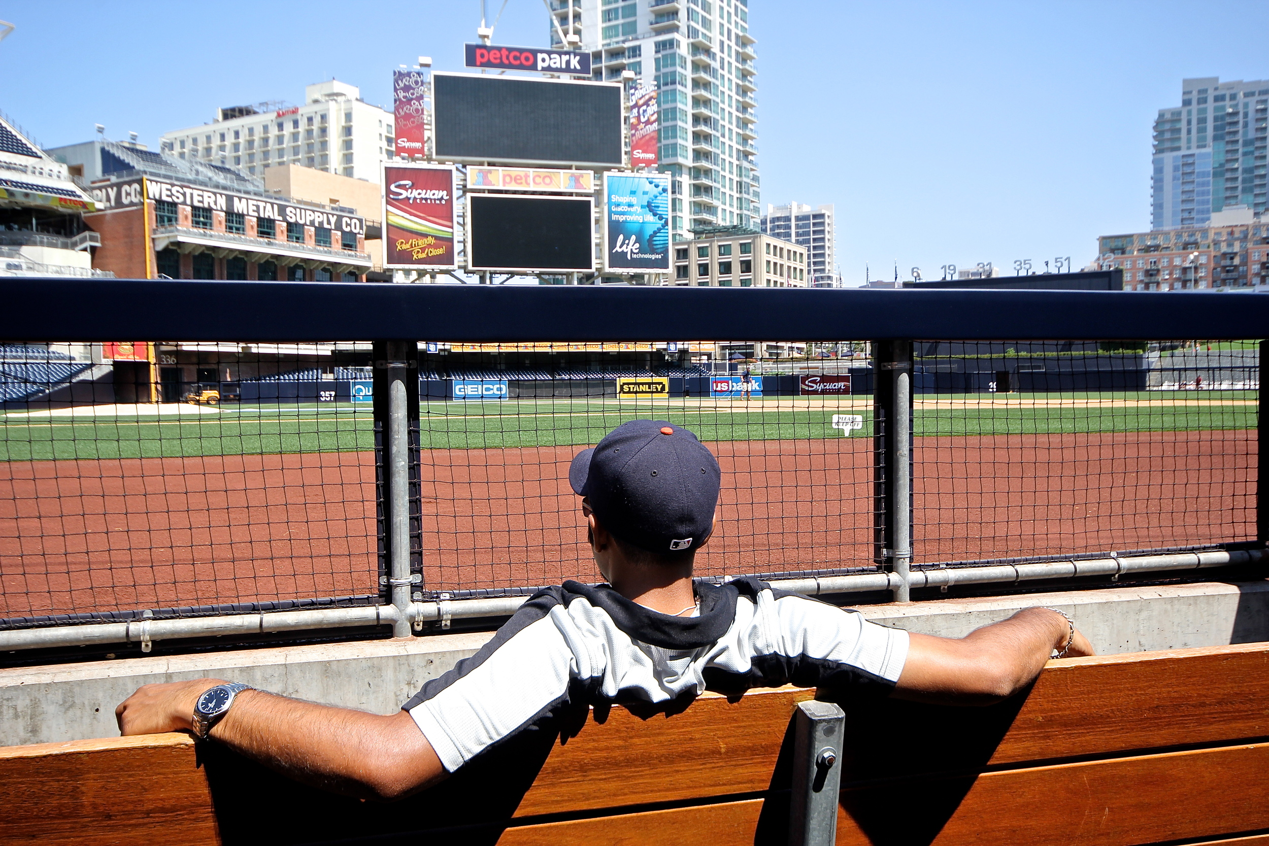Hanging out in the dugout