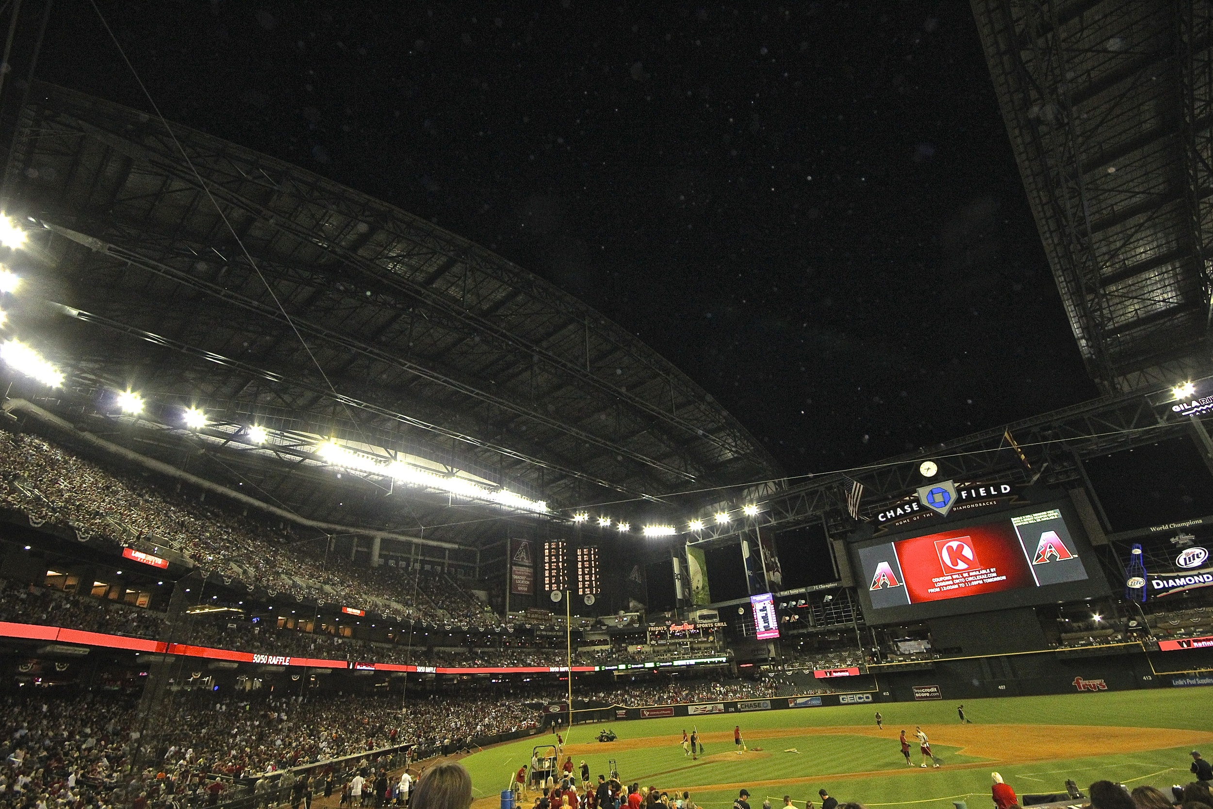 Roof opening at Chase Field