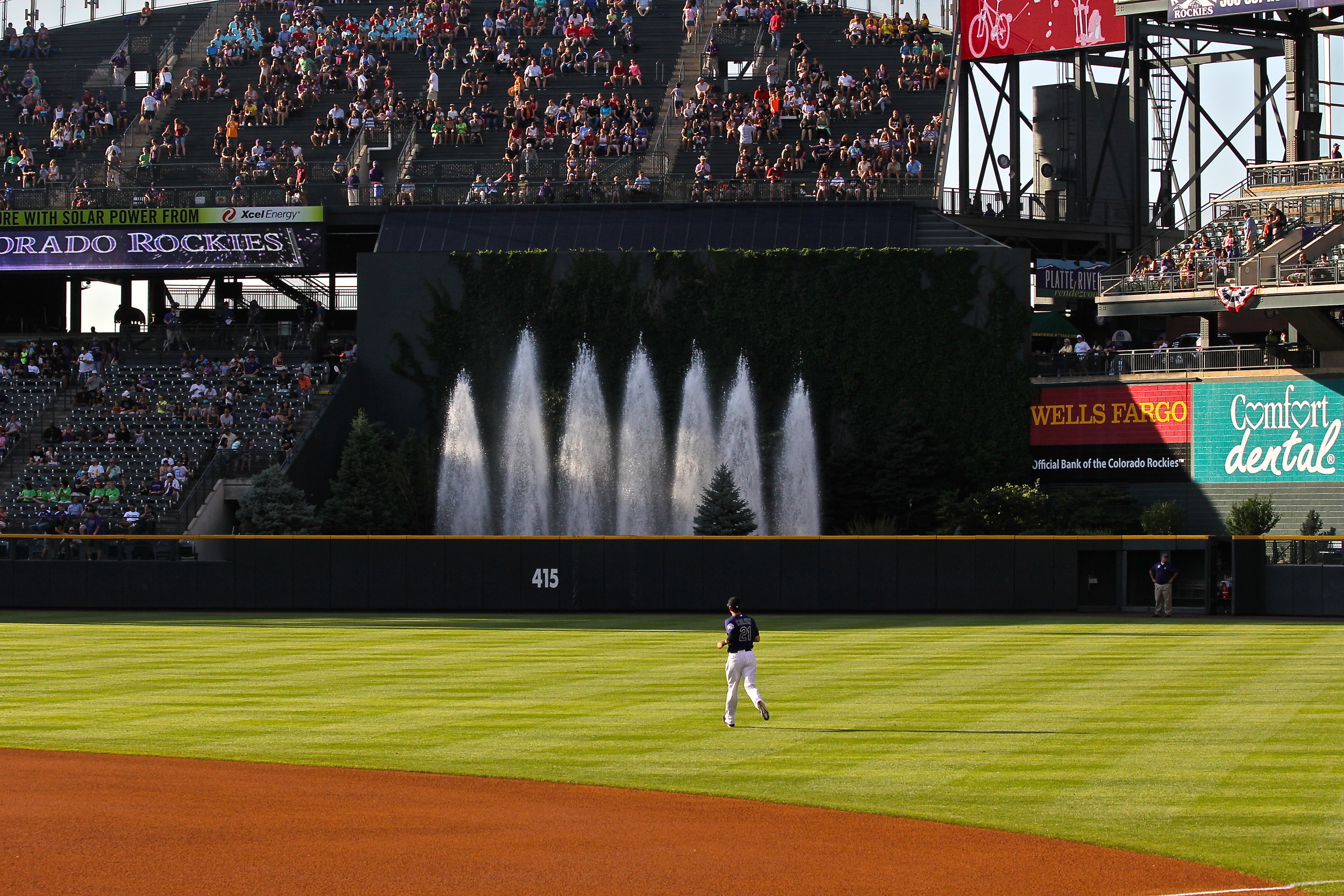Fountains in center field