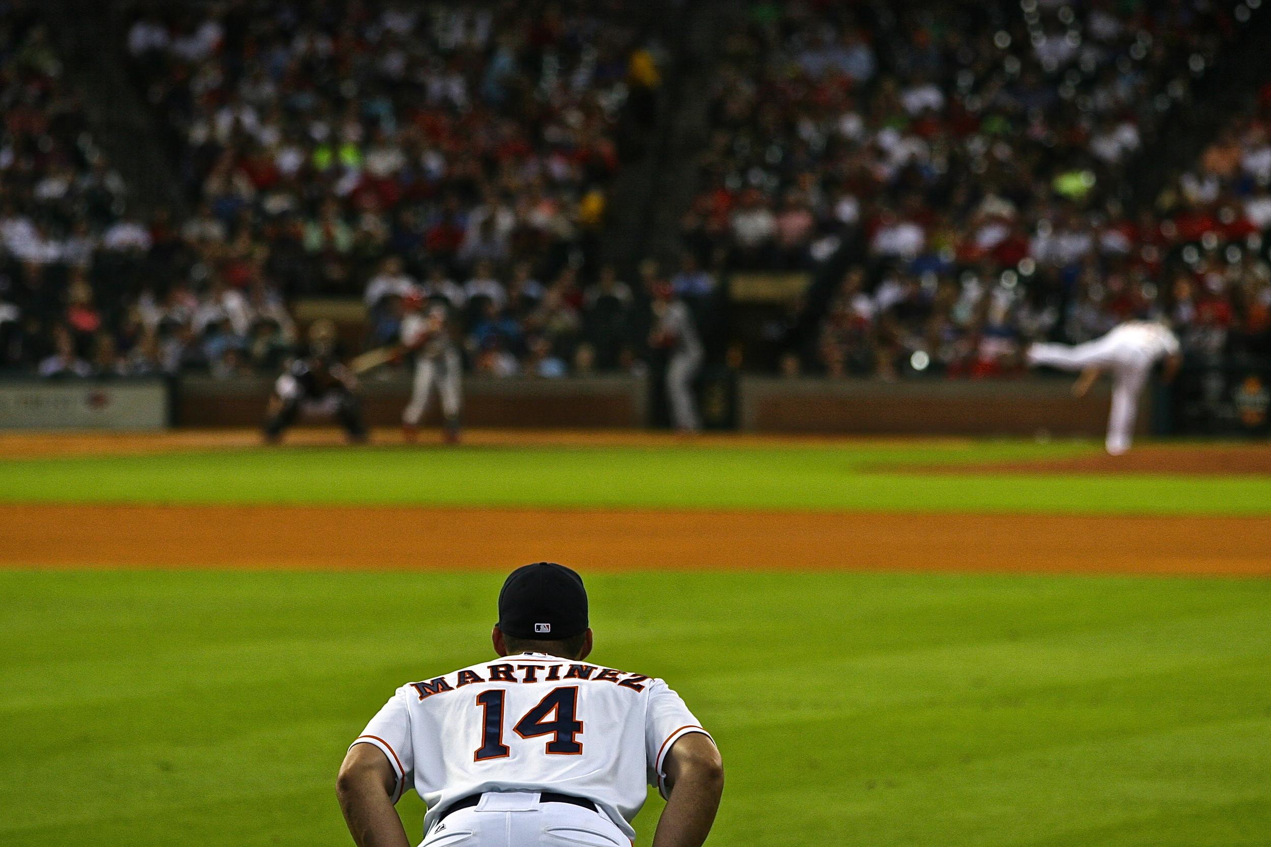 JD Martinez looks on