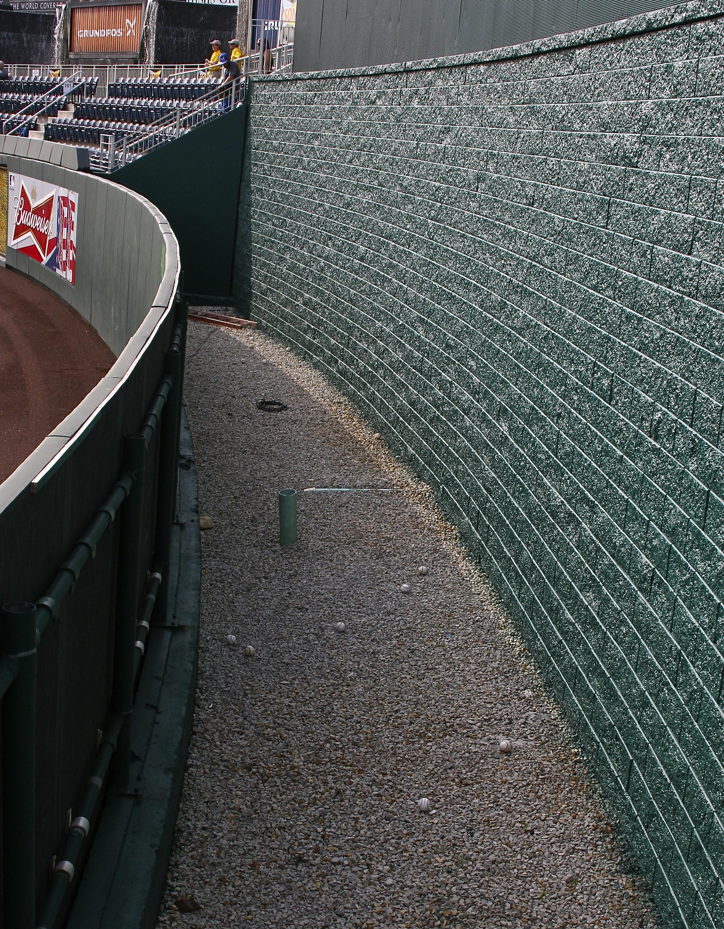 Balls beyond the center field wall