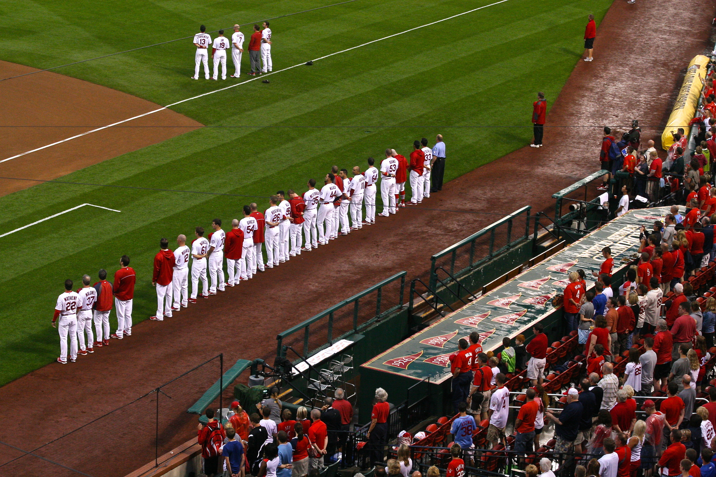 Cardinals stand for the National Anthem