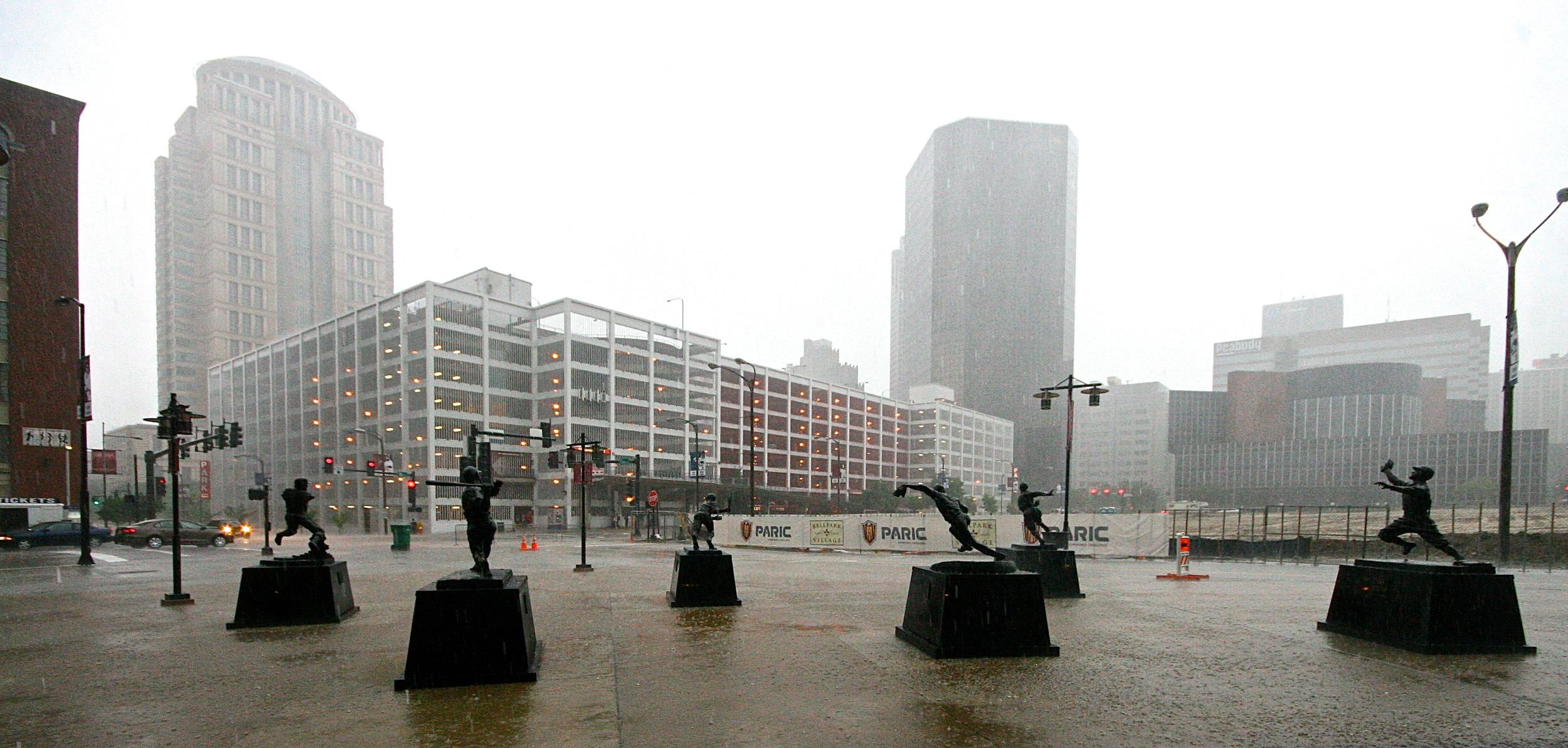 Statues in the rain
