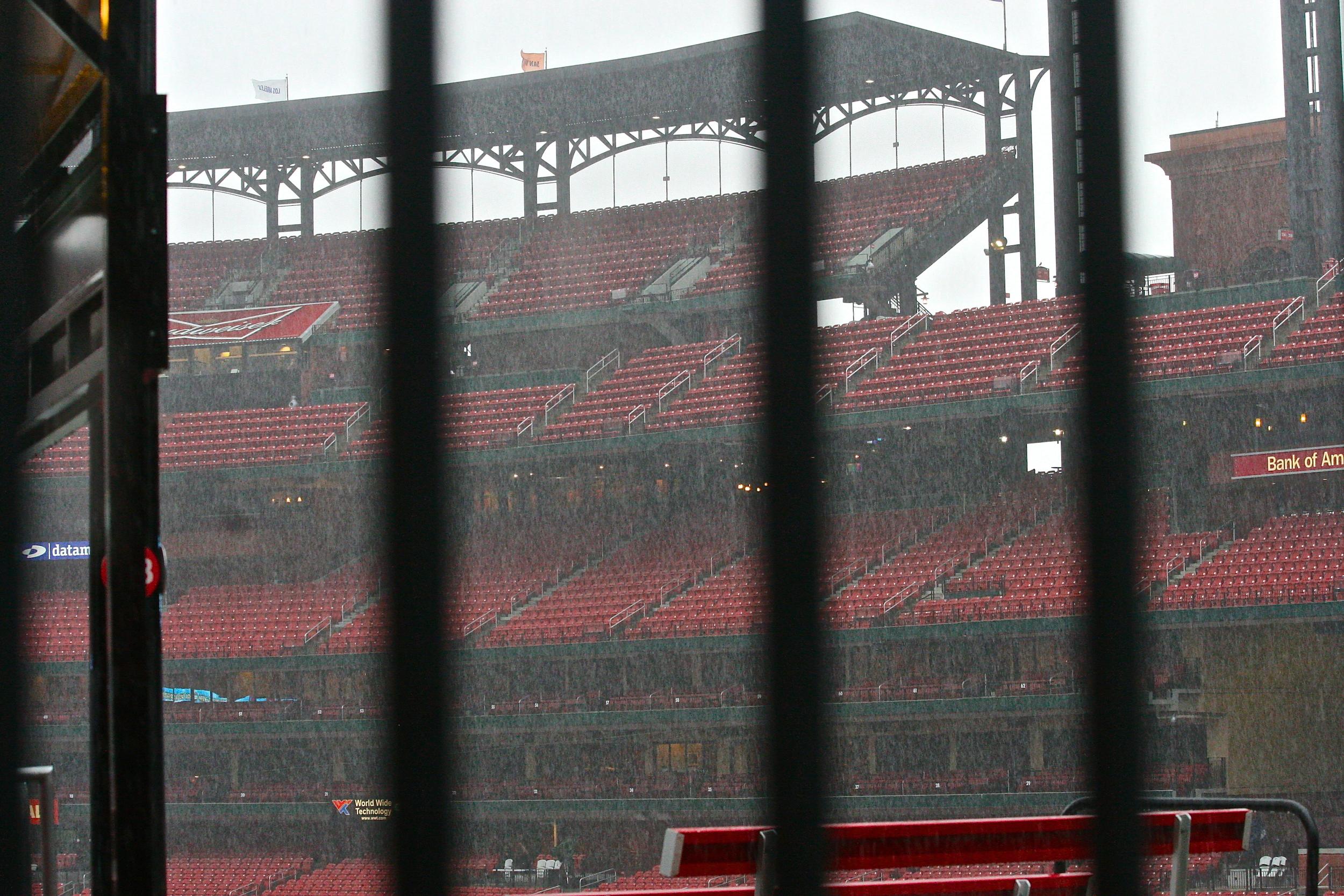 Rainy day at Busch Stadium