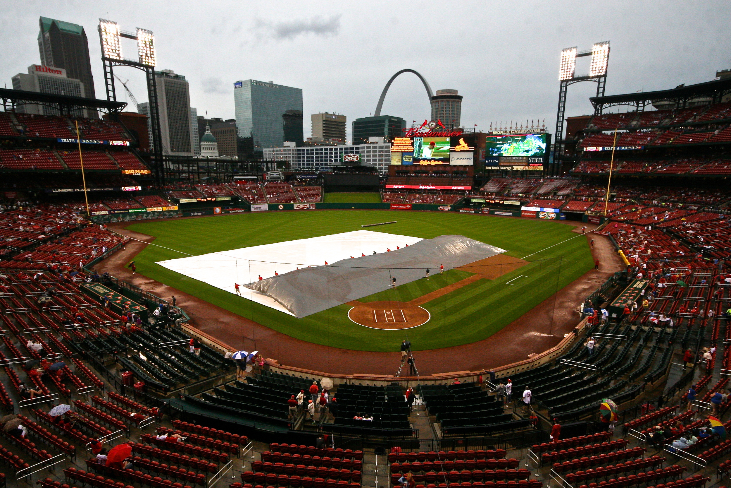 Tarp coming off the field