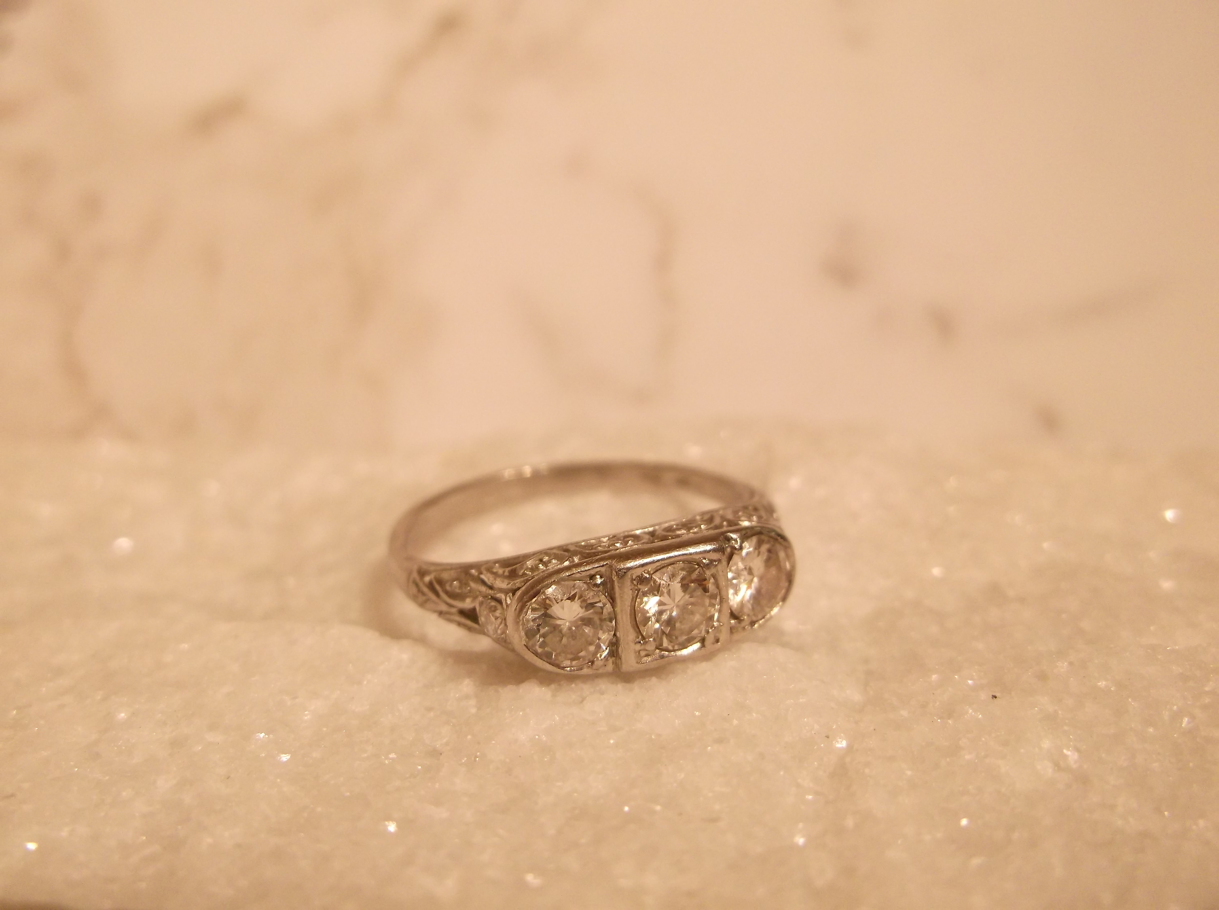 SOLD - Platunum, three stone ring, .38 carats total weight