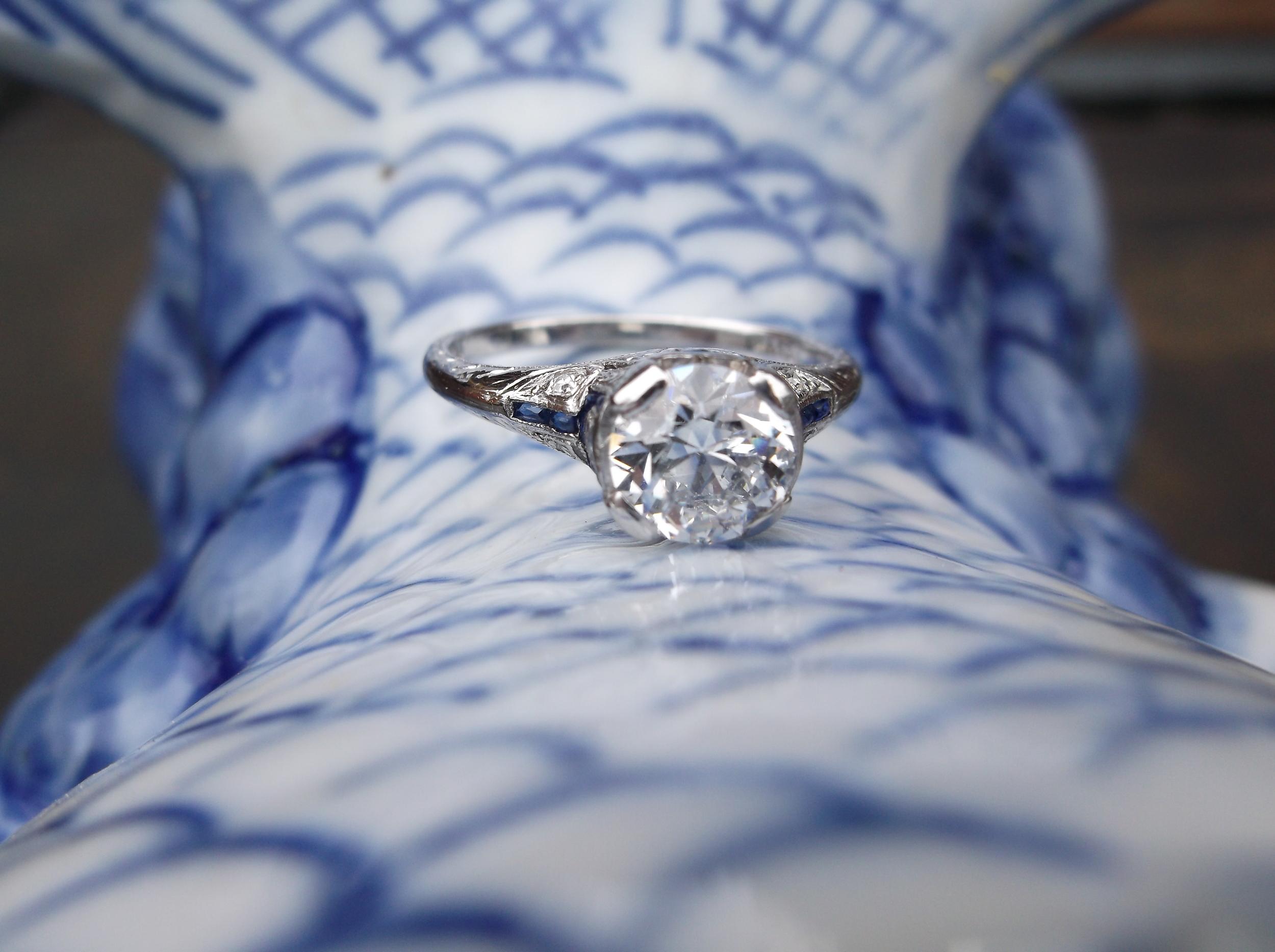 1.21 carat diamond and sapphire ring