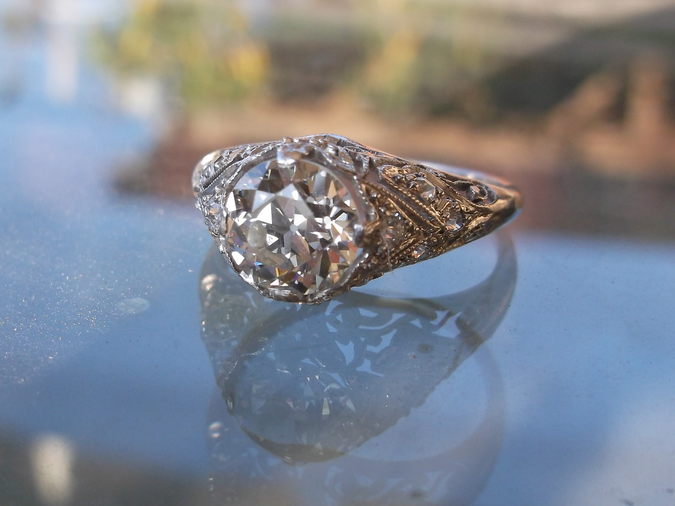 Gorgeous 1920's platinum and diamond ring from Walton's that was used in the TV show, Nashville.  The center stone is 1.25 carats, a VS1 in clarity and an I/J in color.