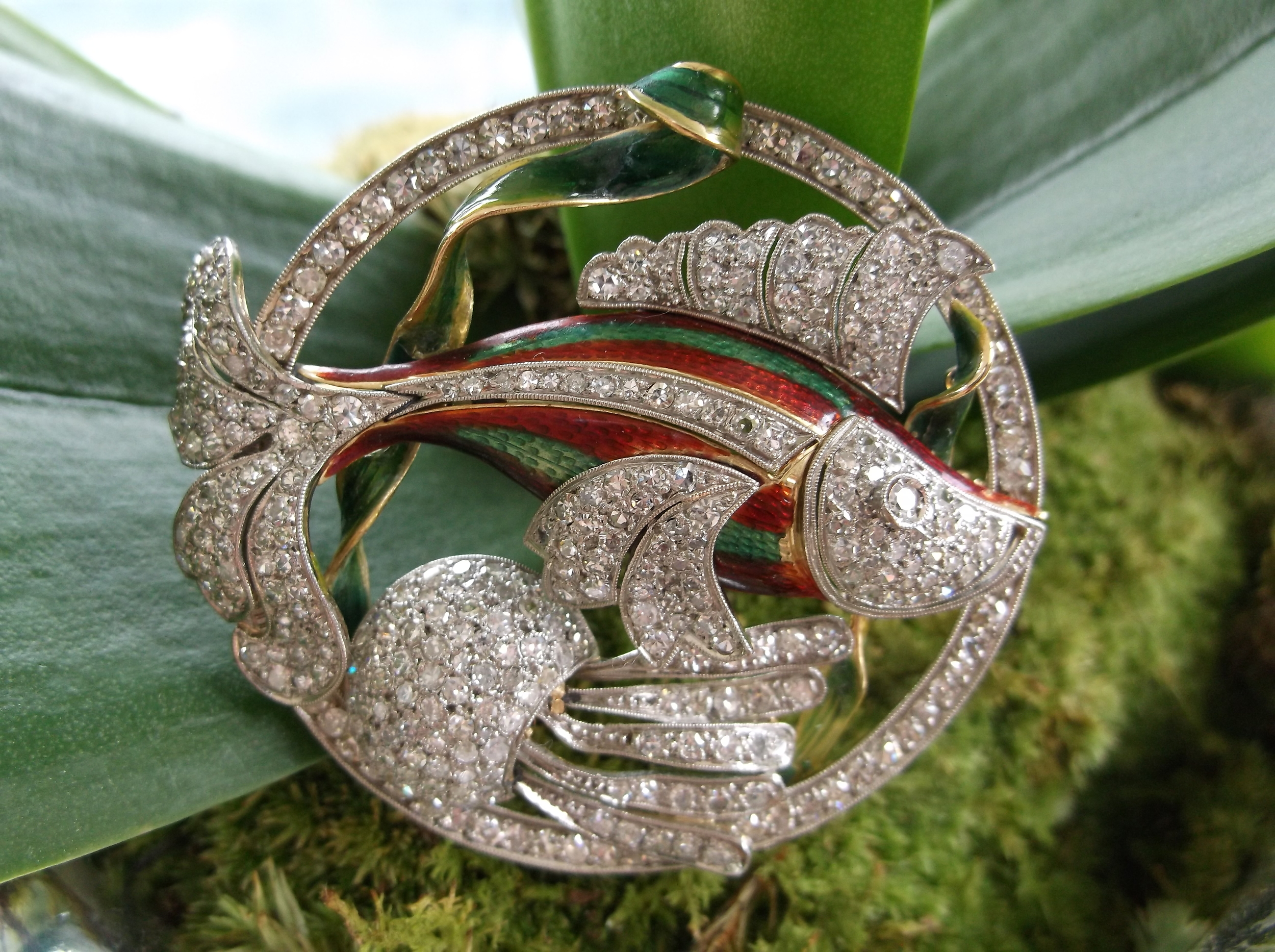 SOLD - Gorgeous 1920's diamond and enamel, platinum on gold fish broach with 2.50 carats total weight in diamonds!