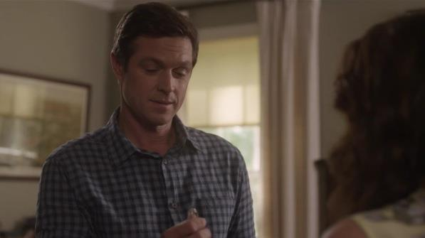 Teddy Conrad, played by Eric Close, proposing to Peggy Kenter, played by Kimberly Williams-Paisley, with the Walton's diamond engagement ring!
