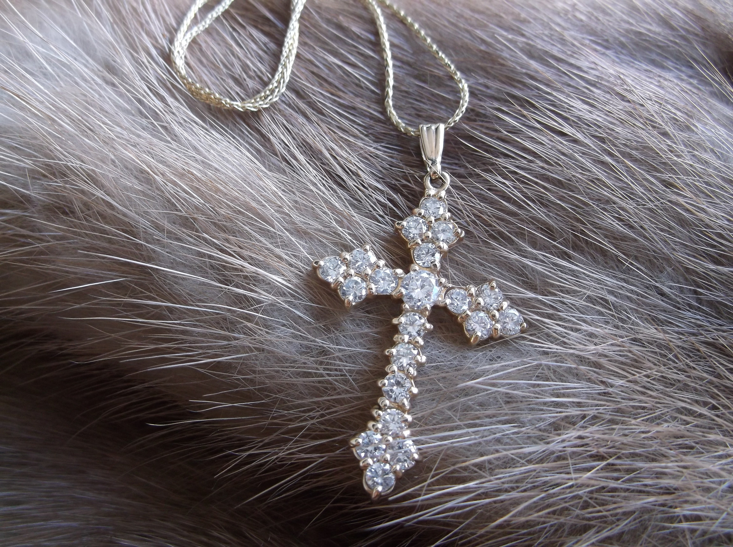 SOLD - Gorgeous diamond and yellow gold cross with 1.67 carats total weight in diamonds.