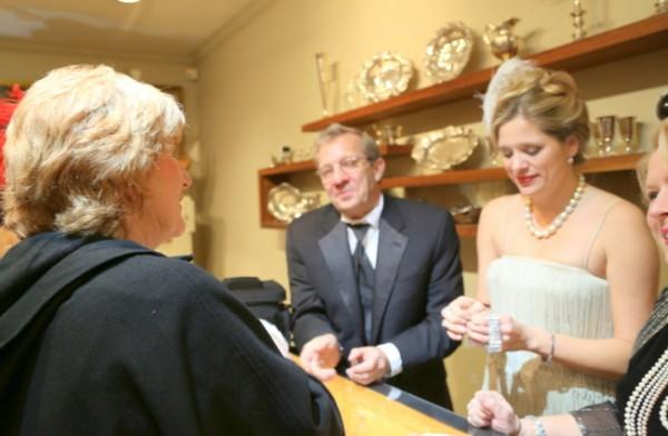 Michael Walton, Jennifer Barton and Linda Parker showing Beth Curley a gorgeous 1920's diamond bracelet. (Photo credit: Kristie Barnett,  The Decorologist )