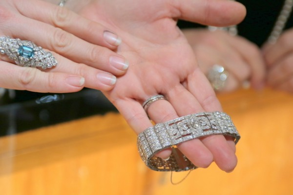1920's diamond and blue zircon ring and 1920's diamond bracelet, both worn by Beth Curley.  (Photo credit: Kristie Barnett,  The Decorologist )