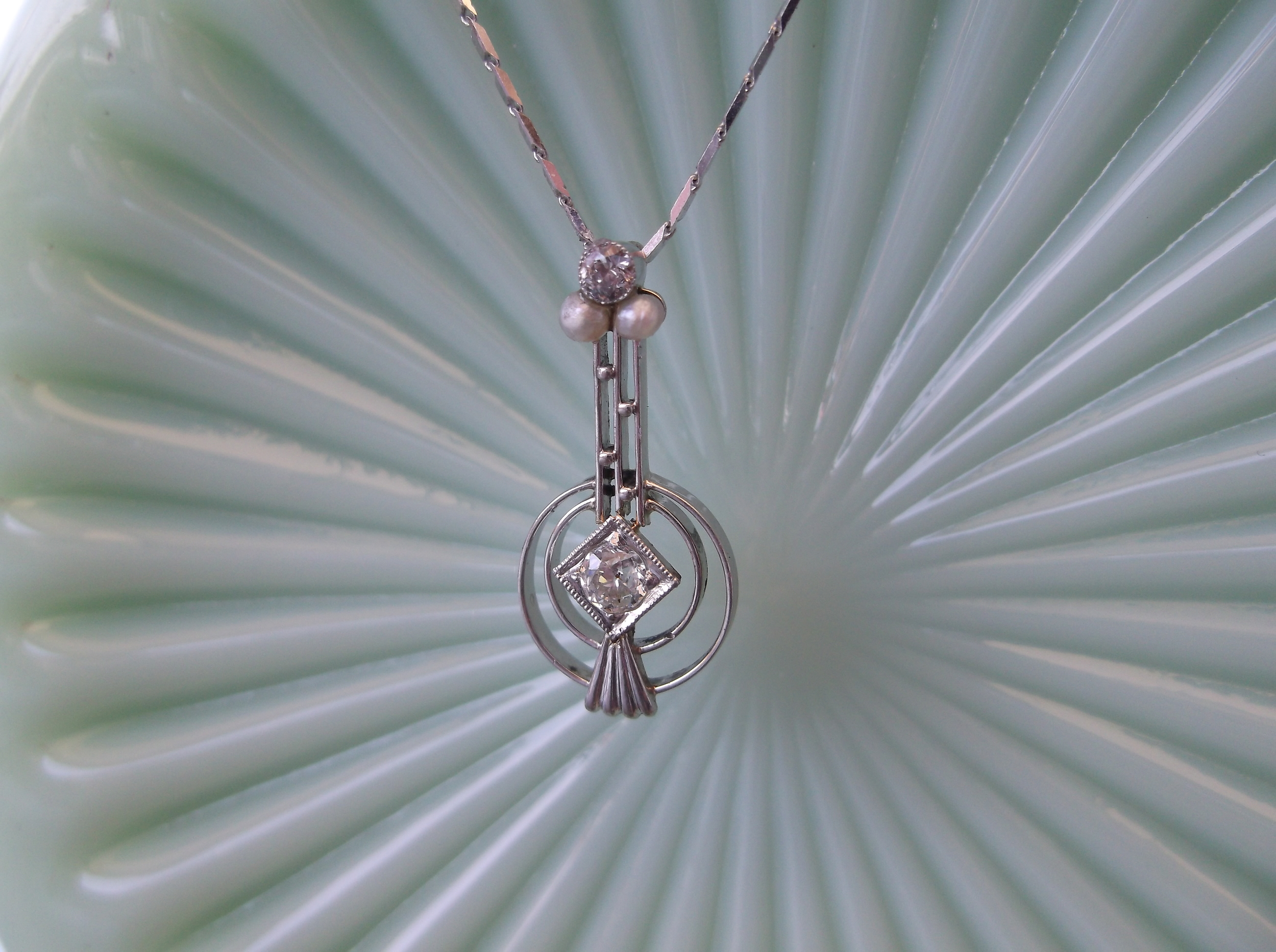 SOLD - Beautiful Art Deco diamond, seed pearl and white gold pendant