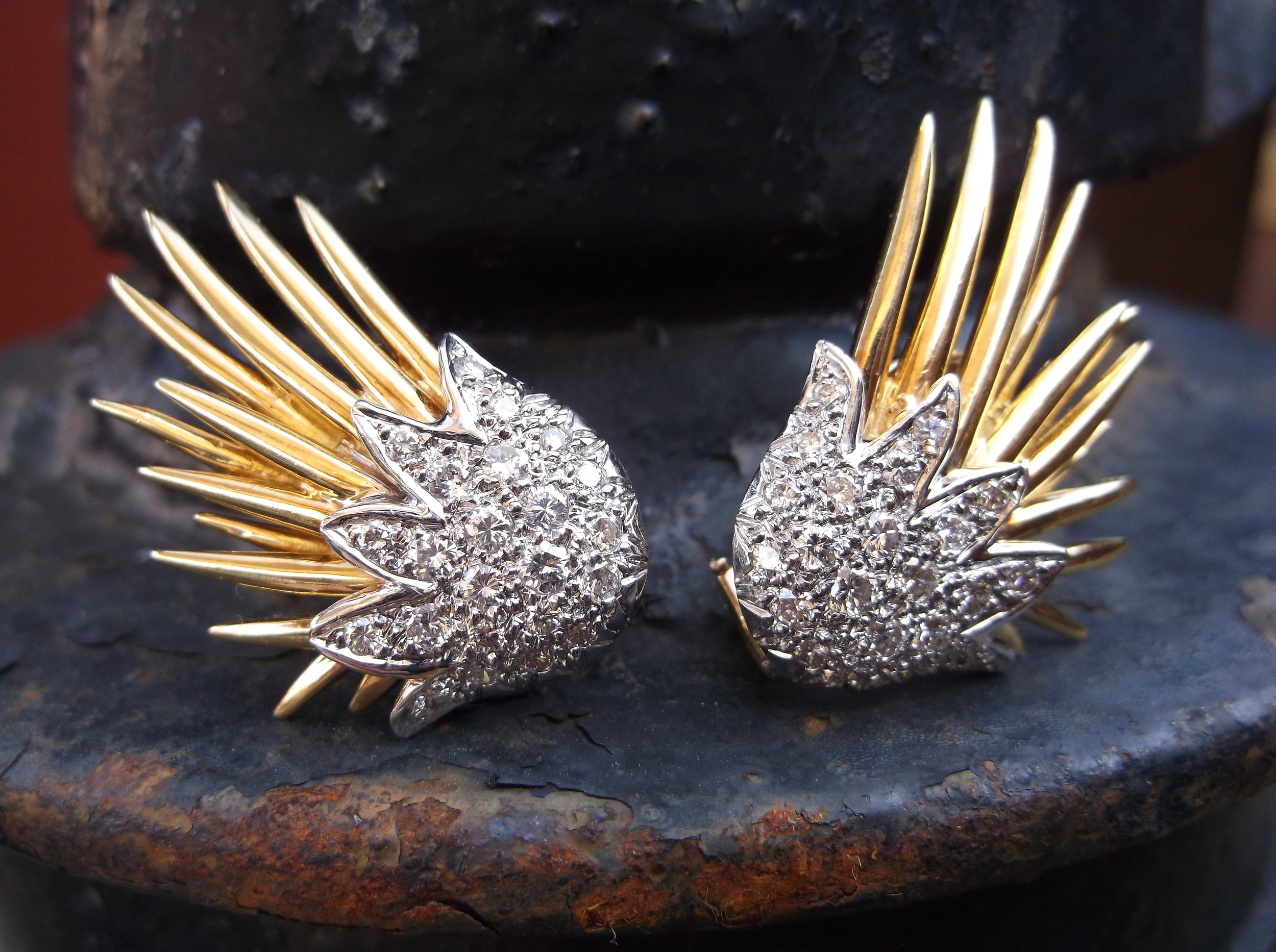 SOLD - Gorgeously unique yellow gold and diamond flame earrings with 1.20 carats total weight in diamonds.
