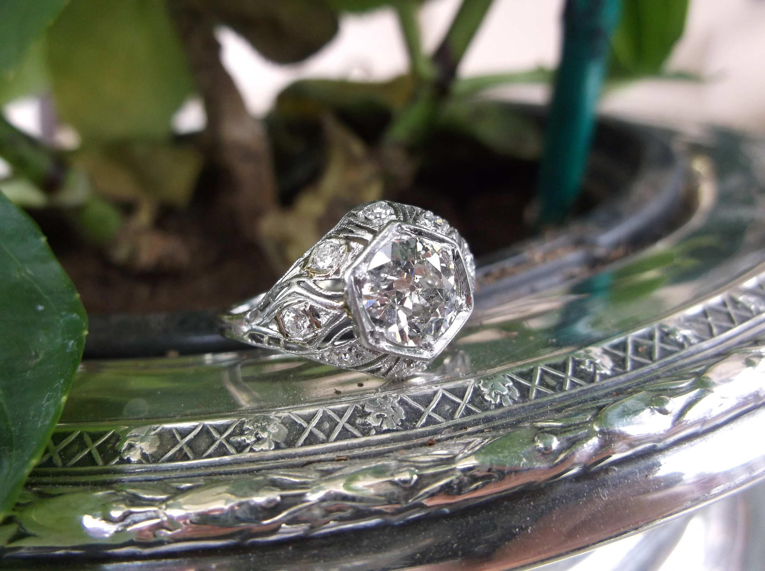 SOLD - Beautiful Art Deco 1.00 Old European cut diamond ring.