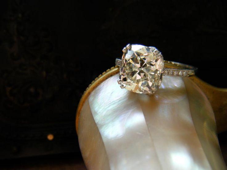 Walton's Jewelry example: 2.00 carat Old Mine cut diamond in a dainty diamond setting. (Sold)