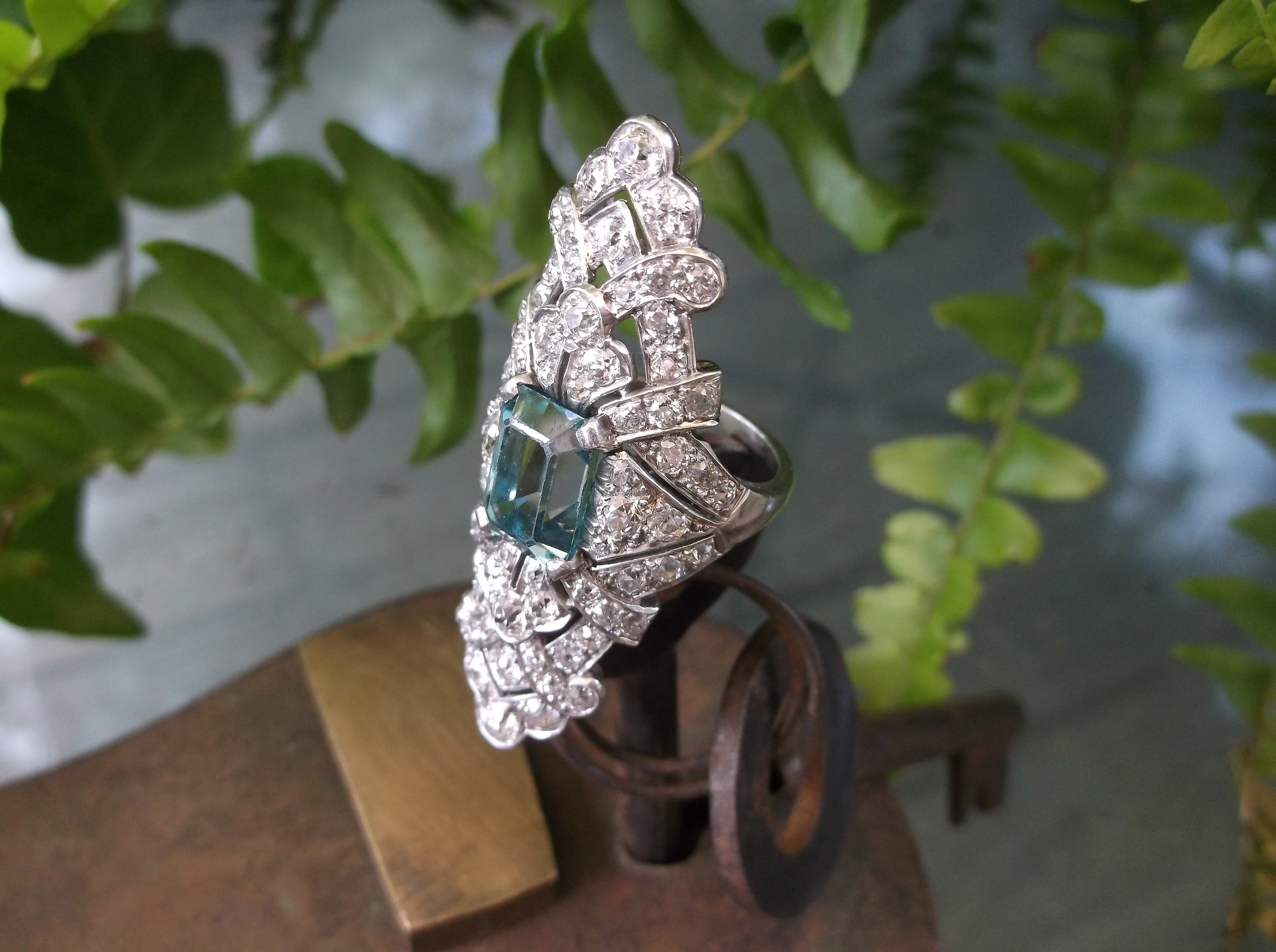 "SOLD - Awe inspiring 1920's 5.00 carat blue zircon elongated cocktail ring (approximately 2"" in length) with 2.75 carats total weight in diamonds set in platinum."