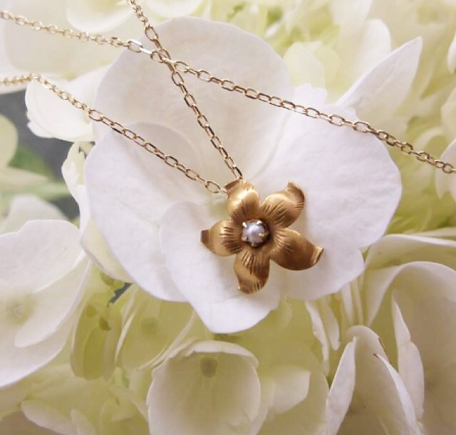 For June: Sweet Victorian Era hand engraved yellow gold and pearl flower pendant.