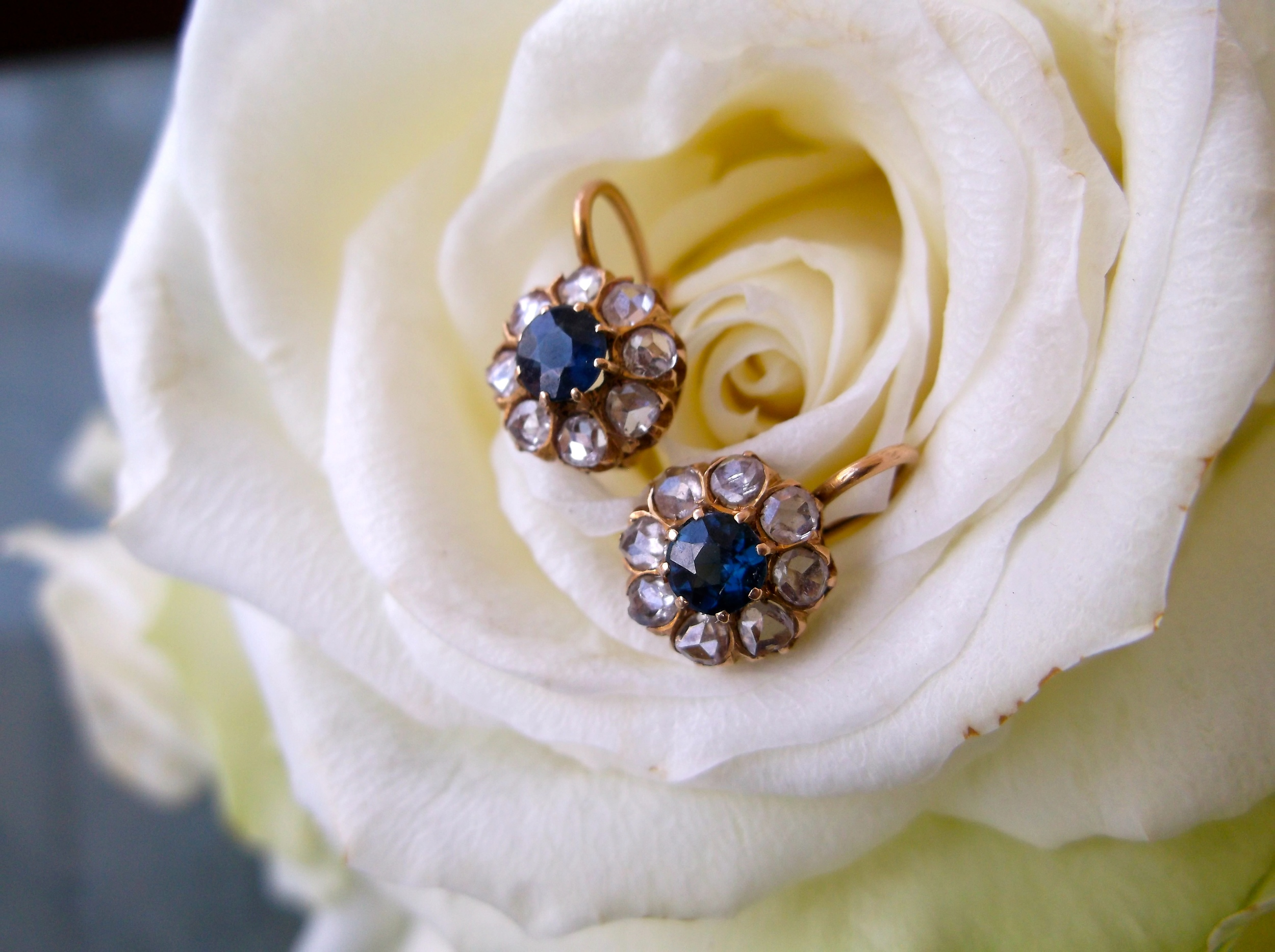 SOLD - Victorian era rose cut diamond and sapphire dainty drop earrings set in yellow gold.