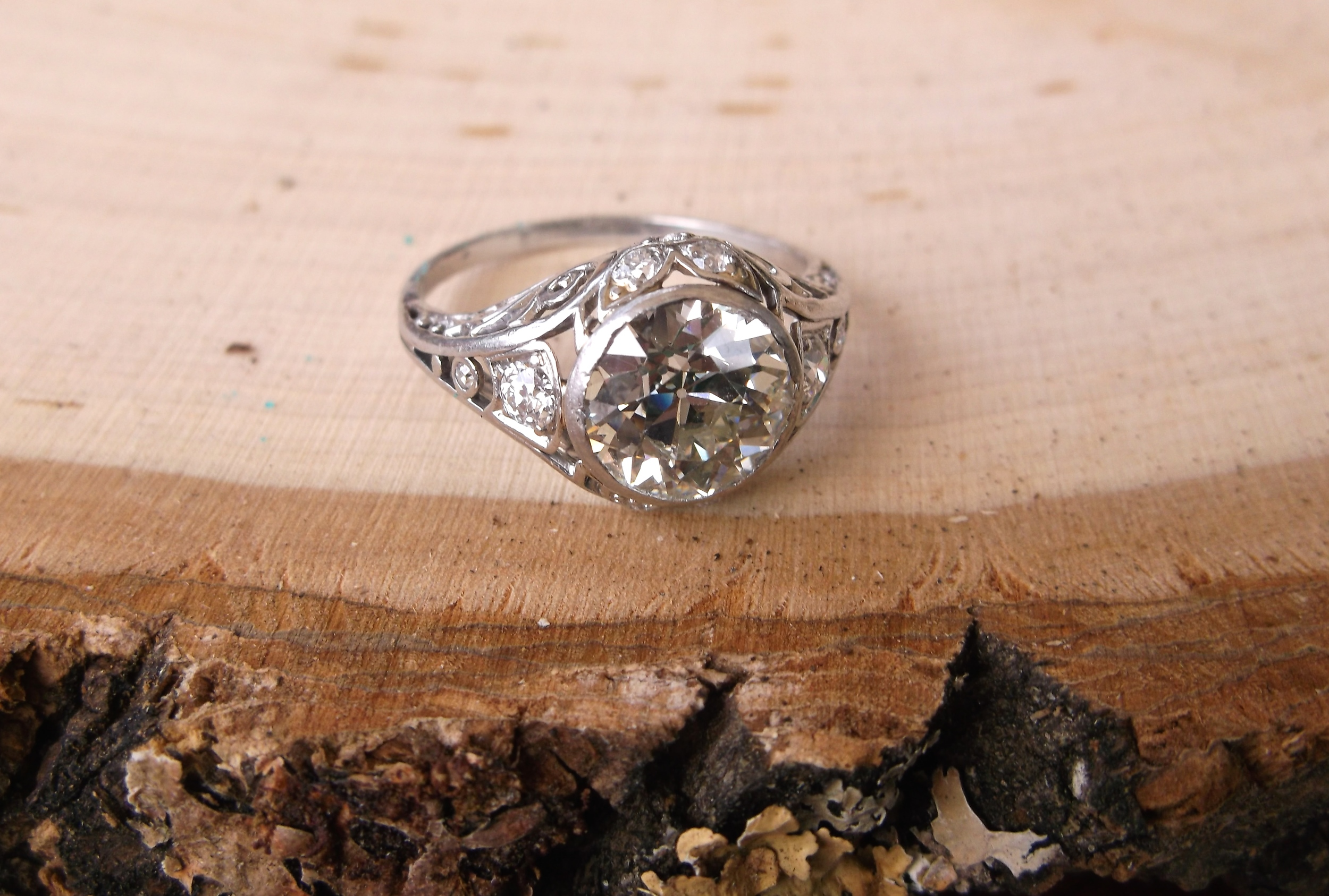 SOLD - Gorgeous Art Deco 2.36 carat Old European cut diamond set in a beautiful diamond and platinum mounting.