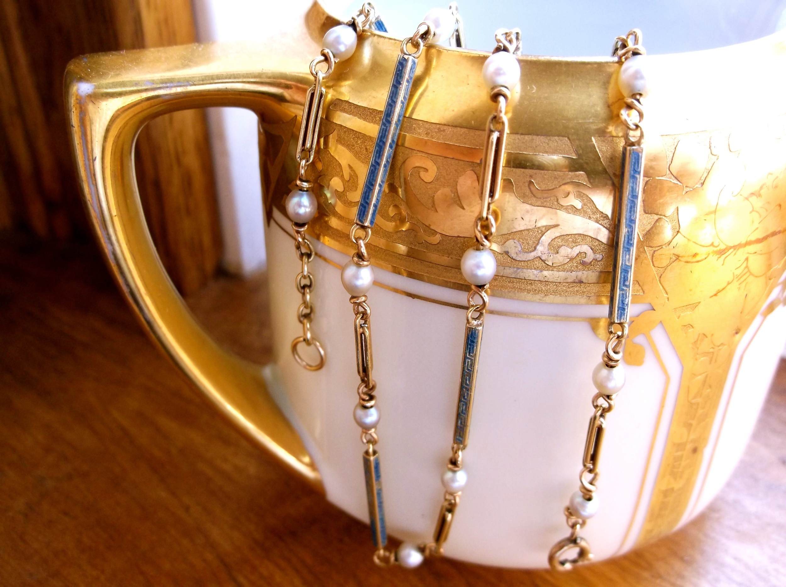 "SOLD - Artfully crafted 1920's gold, pearl and blue enamel watch chain that doubles beautifully as a necklace! (Approximately 16.5"" in length.)"
