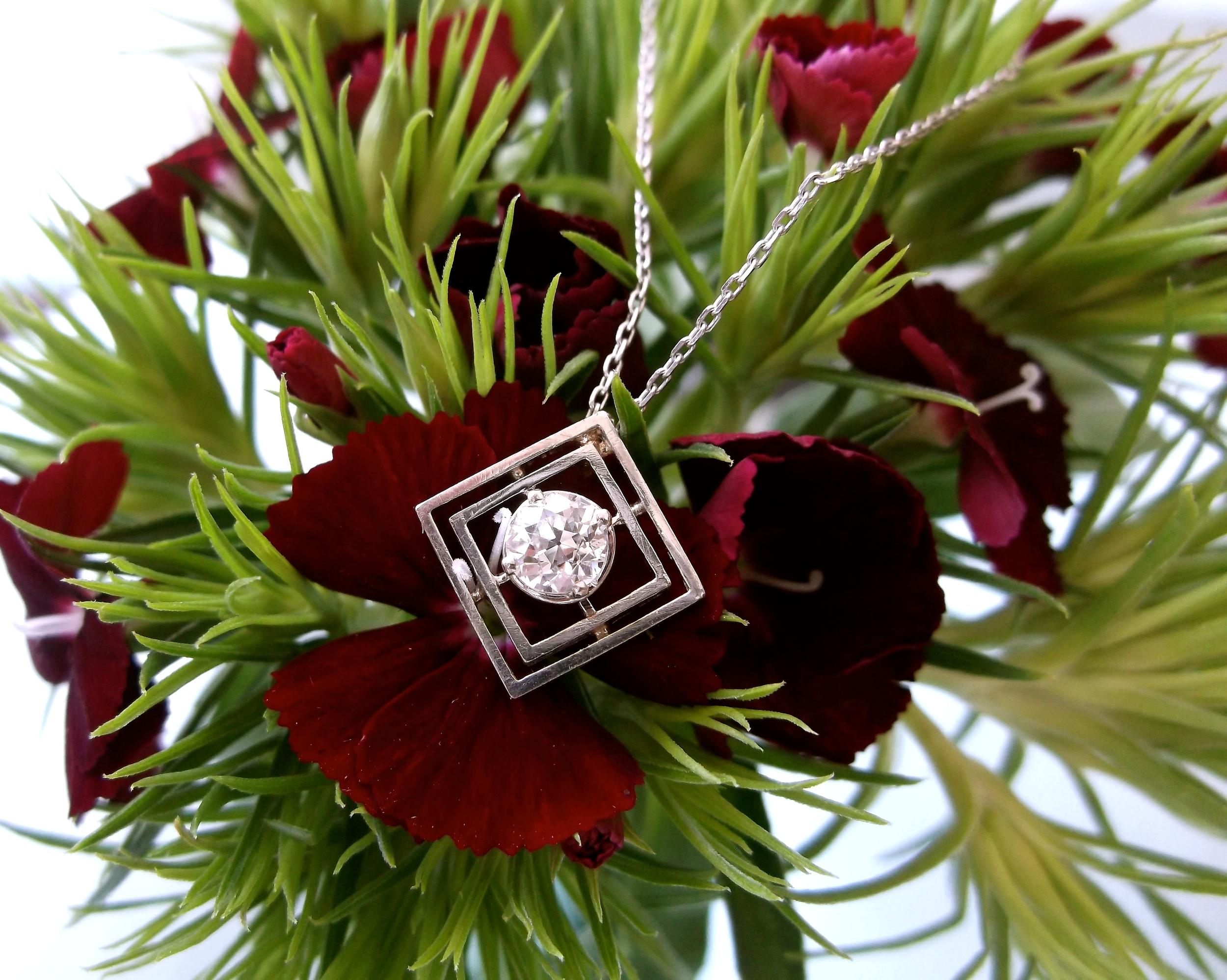 SOLD - Beautiful Art Deco 0.25 carat Old European cut diamond pendant set in white gold.