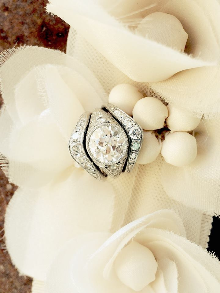 Dolly's stunning Art Deco diamond ring paired with two heirloom diamond bands.