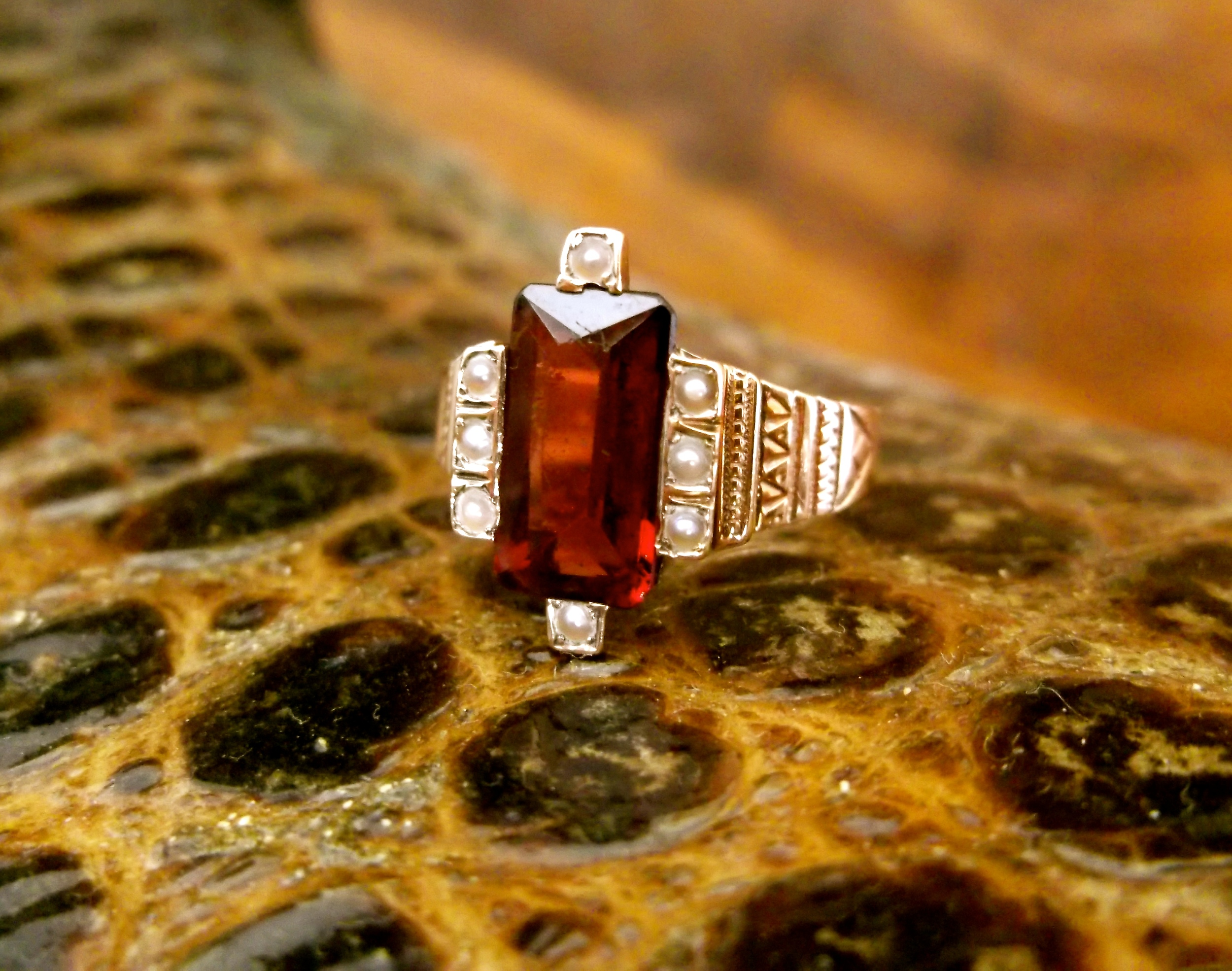 SOLD - Beautiful Victorian Era garnet and seed pearl ring set in a yellow hand engraved detail mounting.