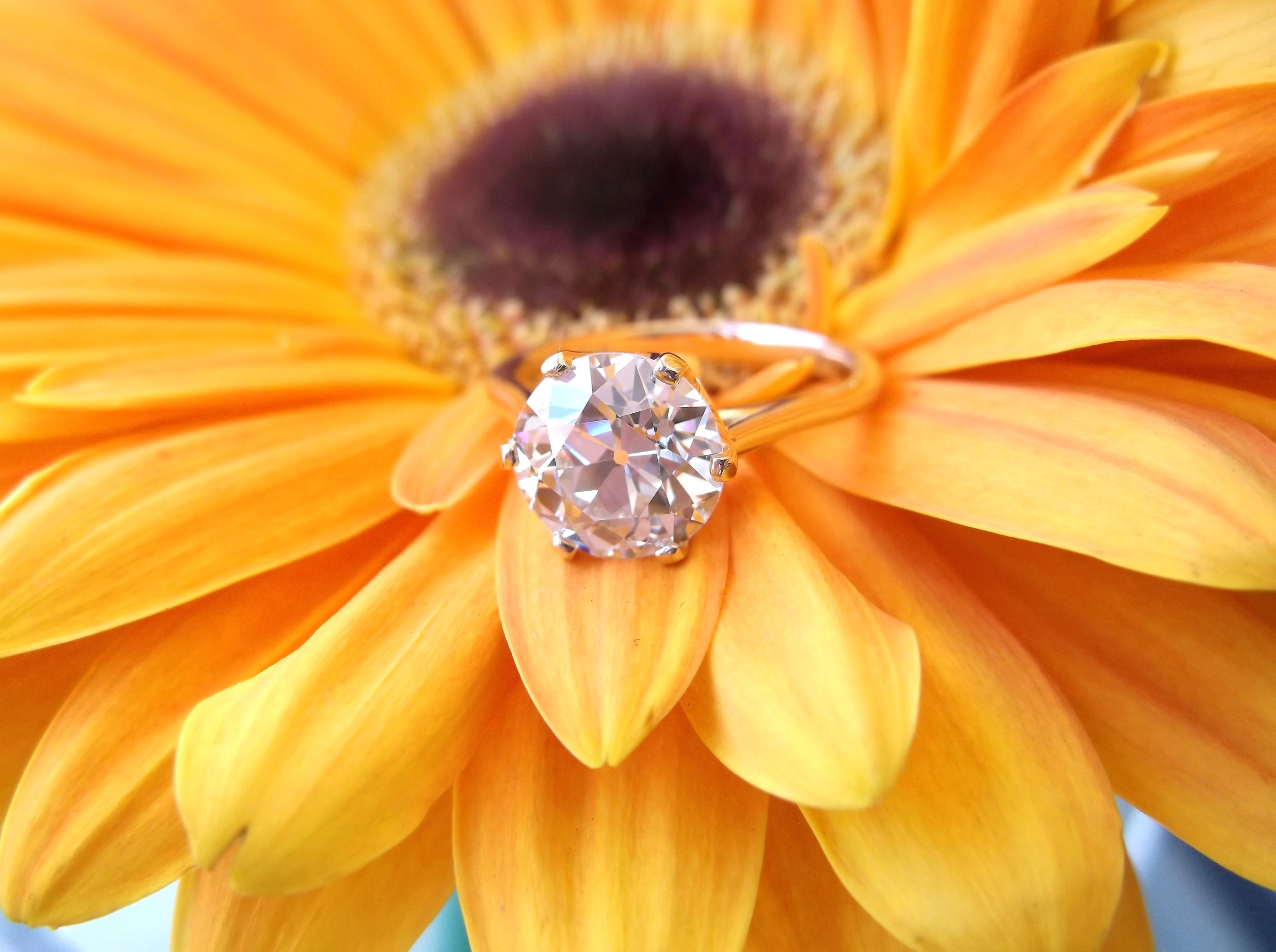 SOLD - Timeless 2.63 carat Old European cut diamond set in a dainty six prong yellow gold setting.