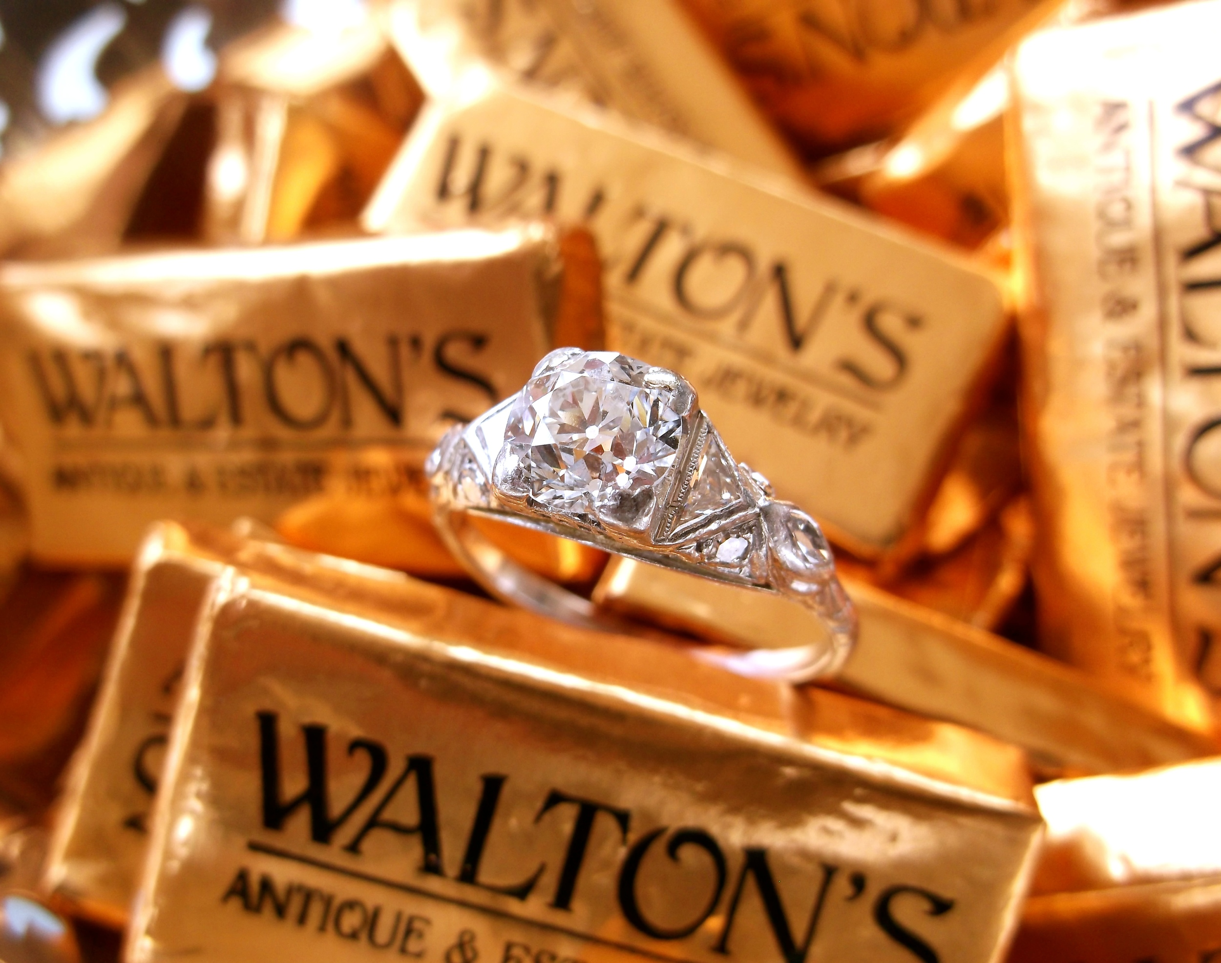 SOLD - Lovely 1920's 1.00 carat Old European cut diamond set in a gorgeous platinum and diamond mounting.
