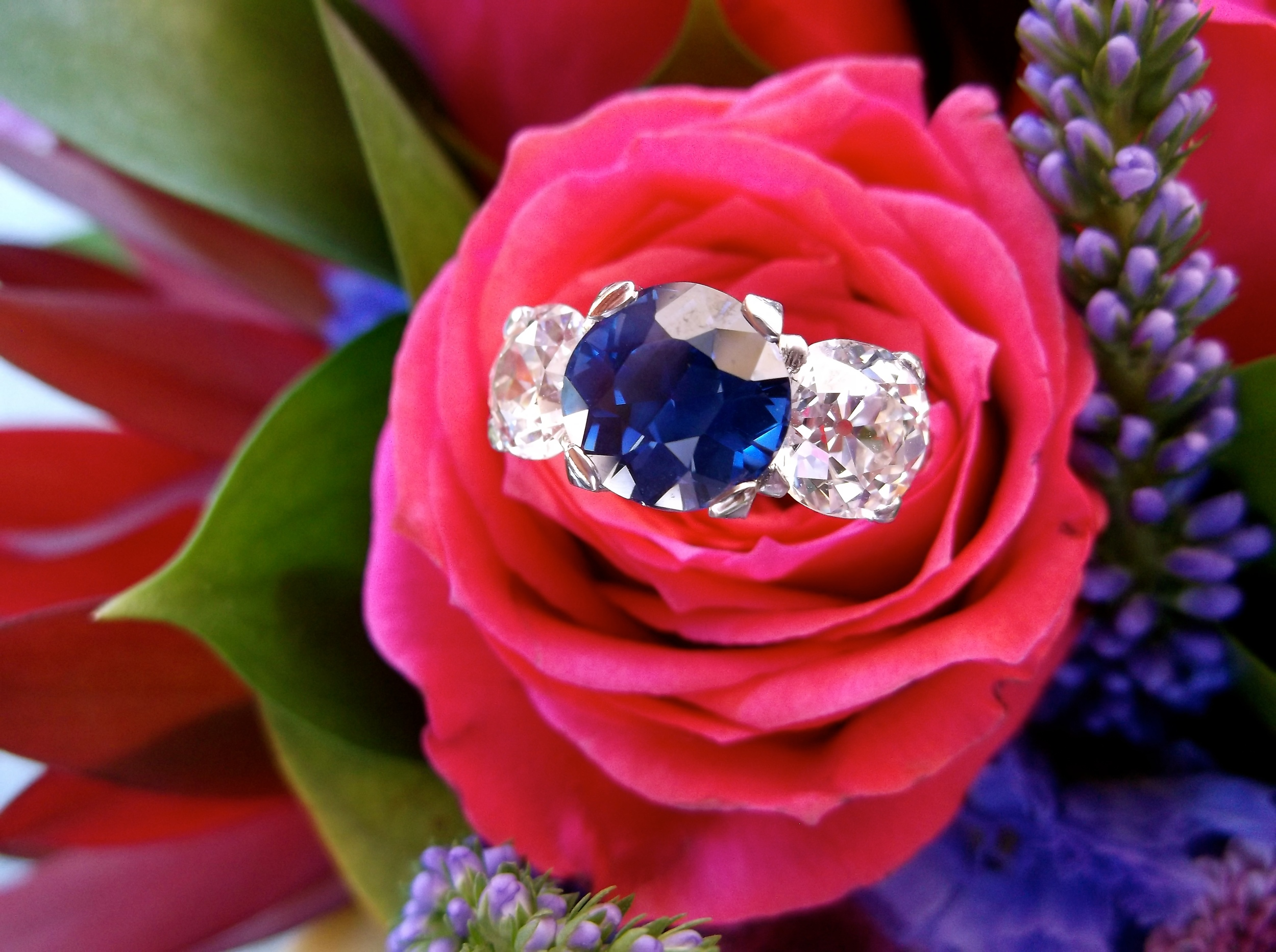 SOLD - Gorgeous Art Deco 3.15 carat GIA certified, natural, no treatment, Sri Lankan sapphire set in platinum with 2.39 carats total weight in Old European cut diamonds.
