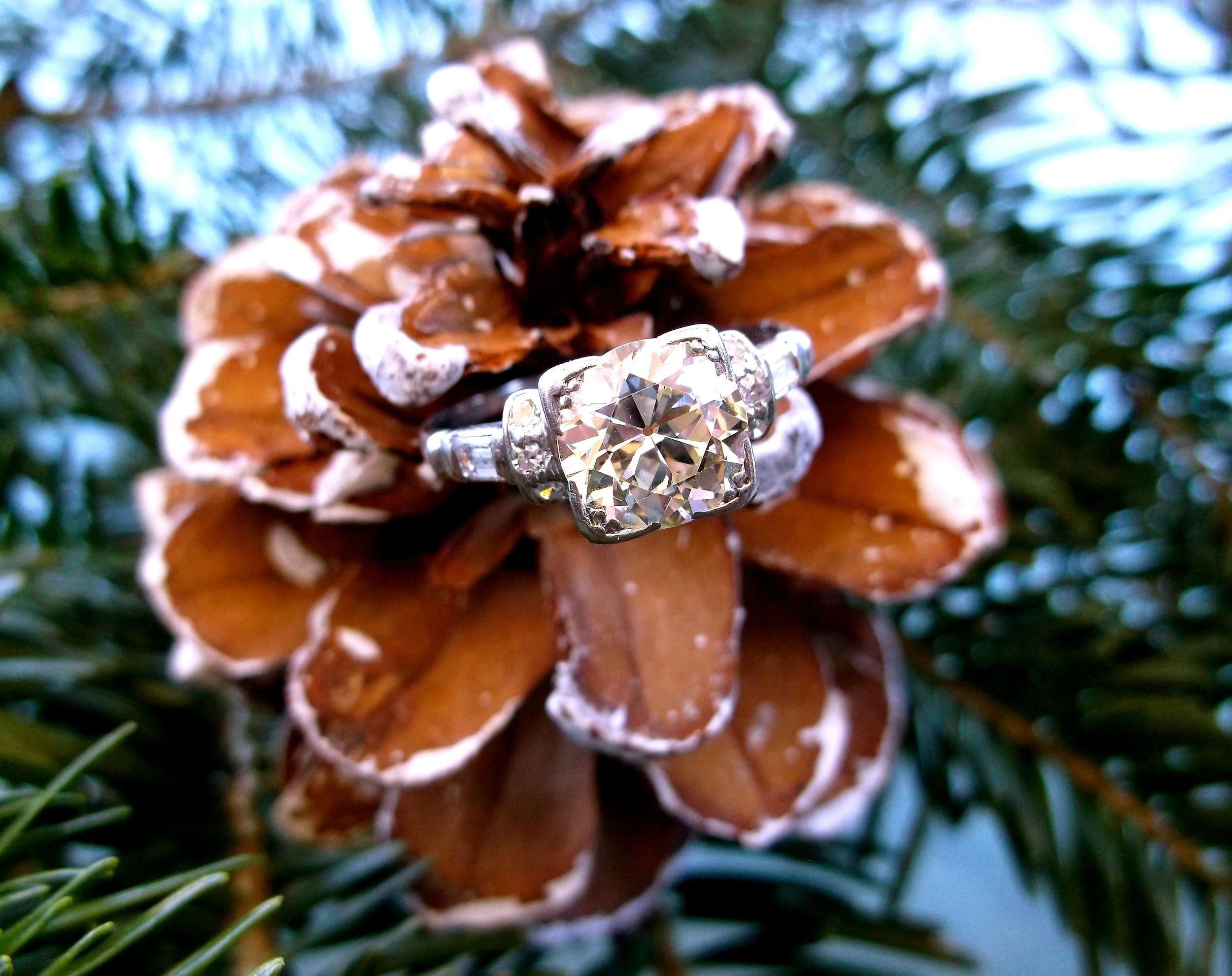SOLD - Stunning Art Deco 1.85 carat Old European cut diamond set in a diamond and platinum mounting.