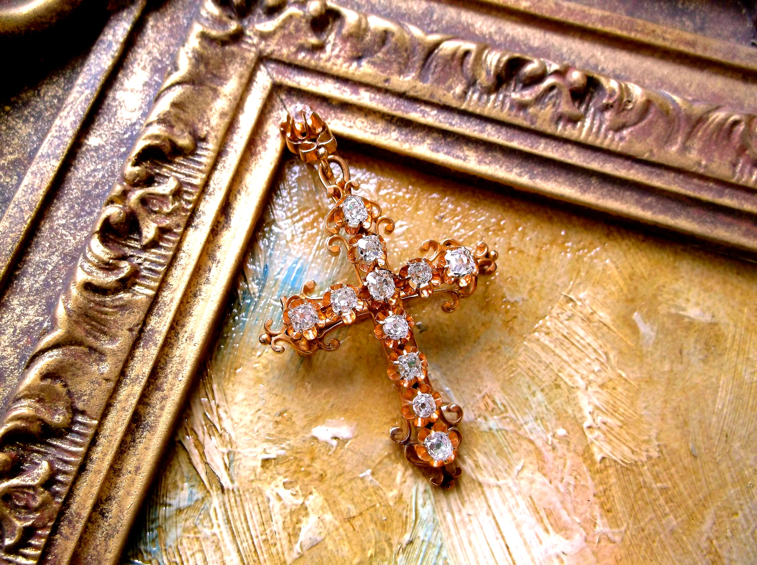 "SOLD - Breathtaking Victorian era diamond cross set in yellow gold with 1.50 carats total weight in Old Mine cut diamonds. (Approximately 2.5"" in length by 1.5"" in width.)"