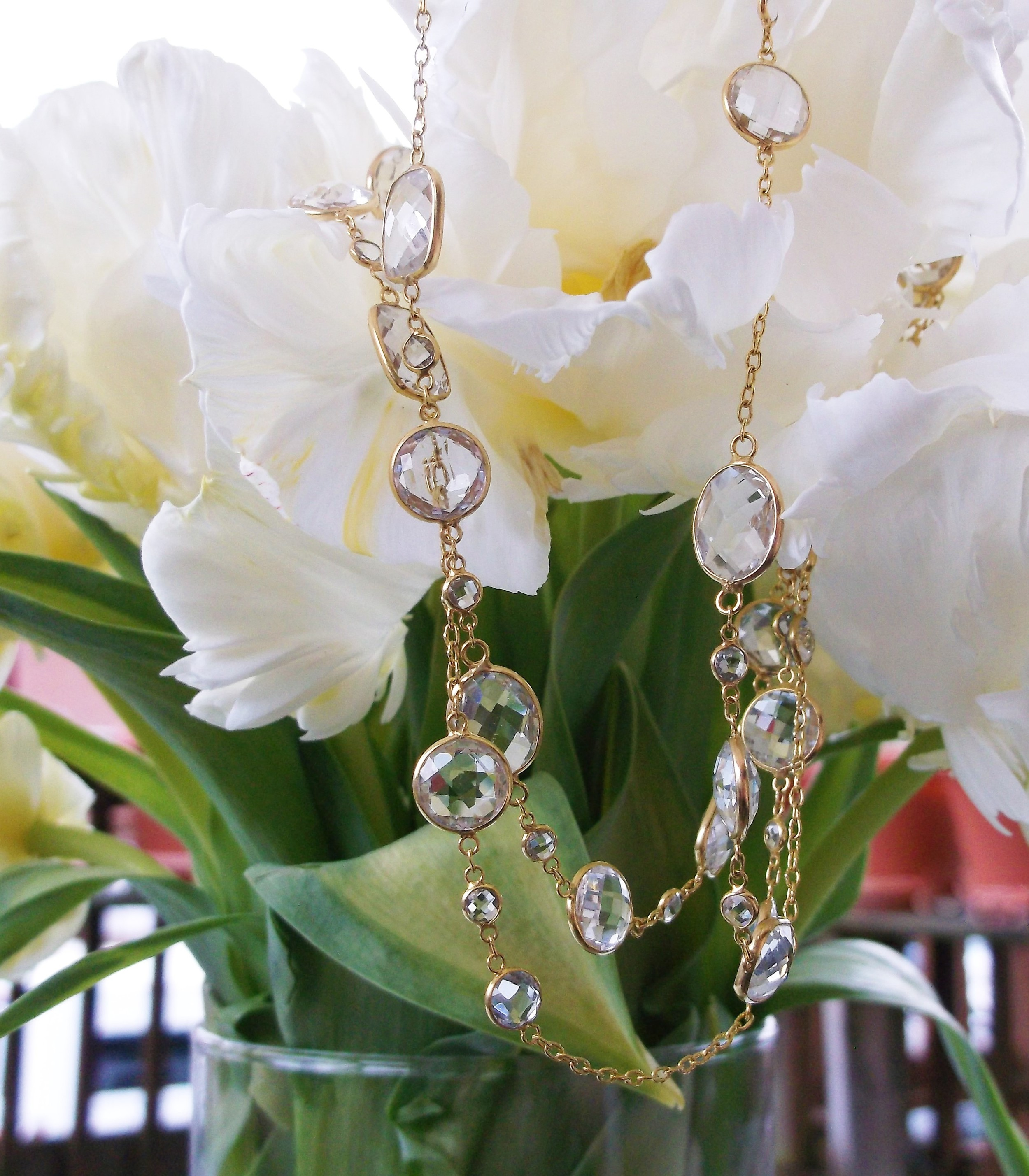 """SOLD - Gorgeous 40"""" strand of 18K yellow gold and fancy cut white sapphires intermittently bezel set along the chain."""