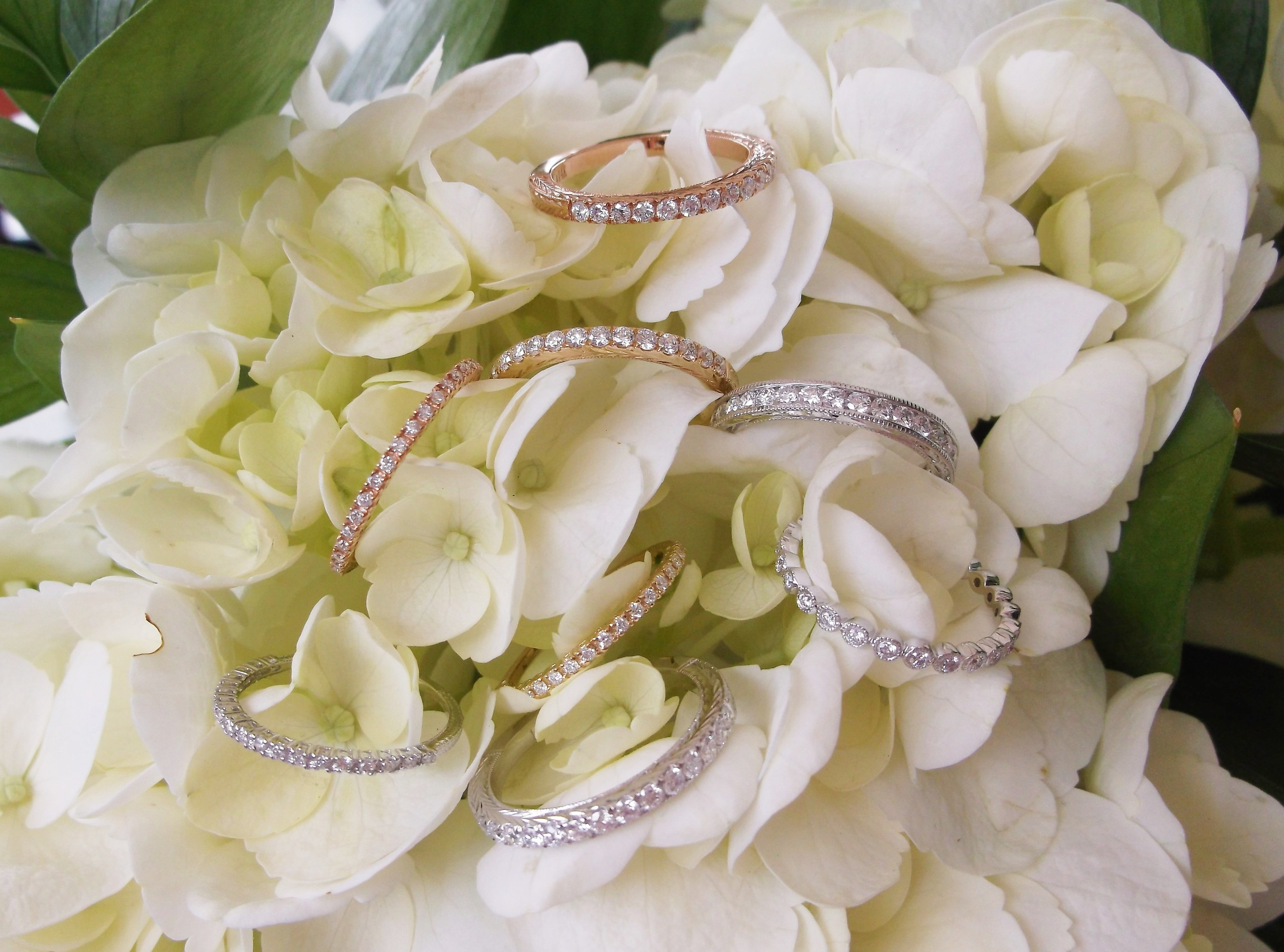 A lovely array of diamond bands in yellow gold, white gold and rose gold that stand on their own, make gorgeous stacks and pair beautifully with antique engagement rings!