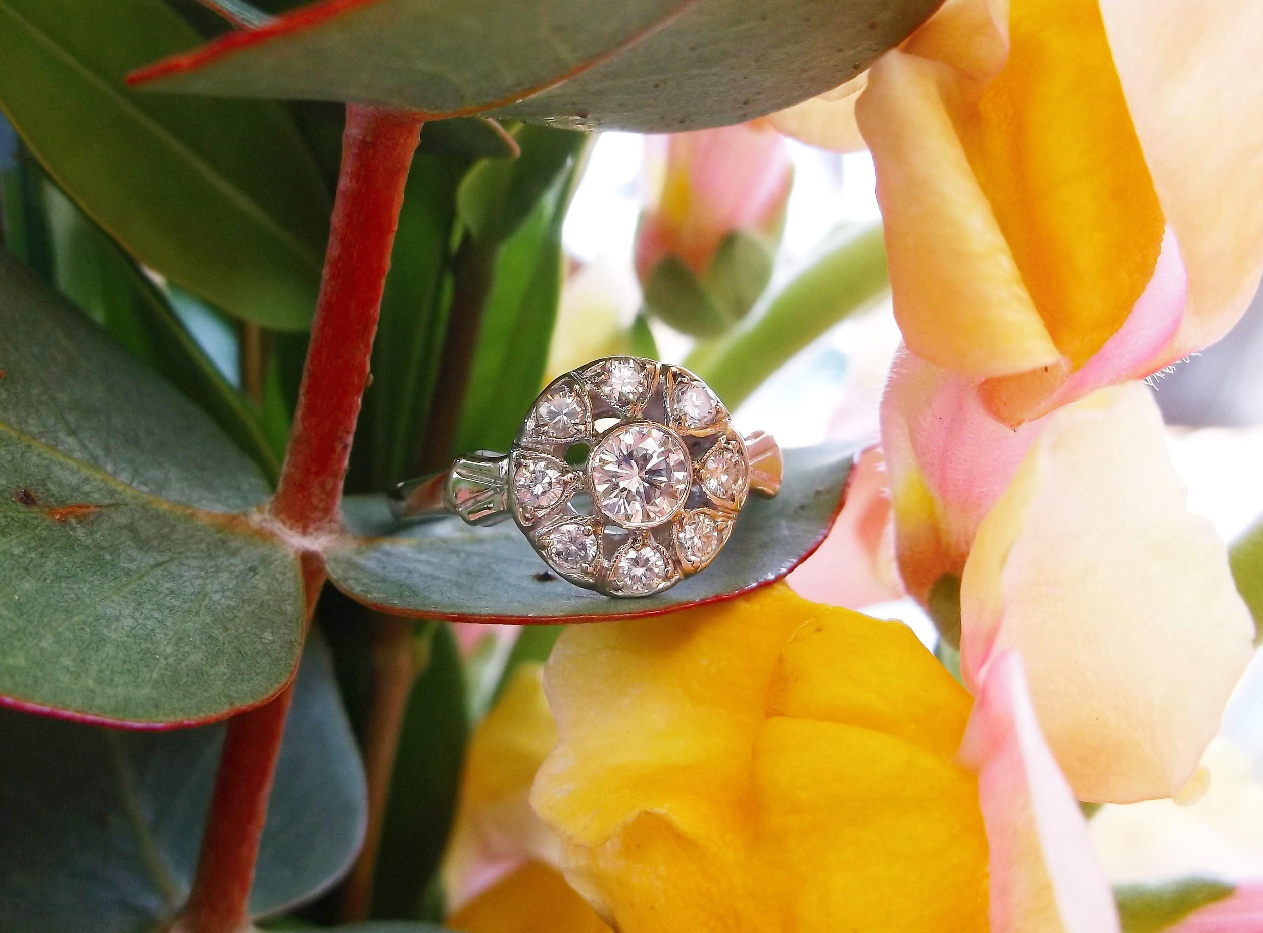 SOLD - Lovely 1930's 14K white gold and diamond ring with 0.56 carats total weight in diamonds.