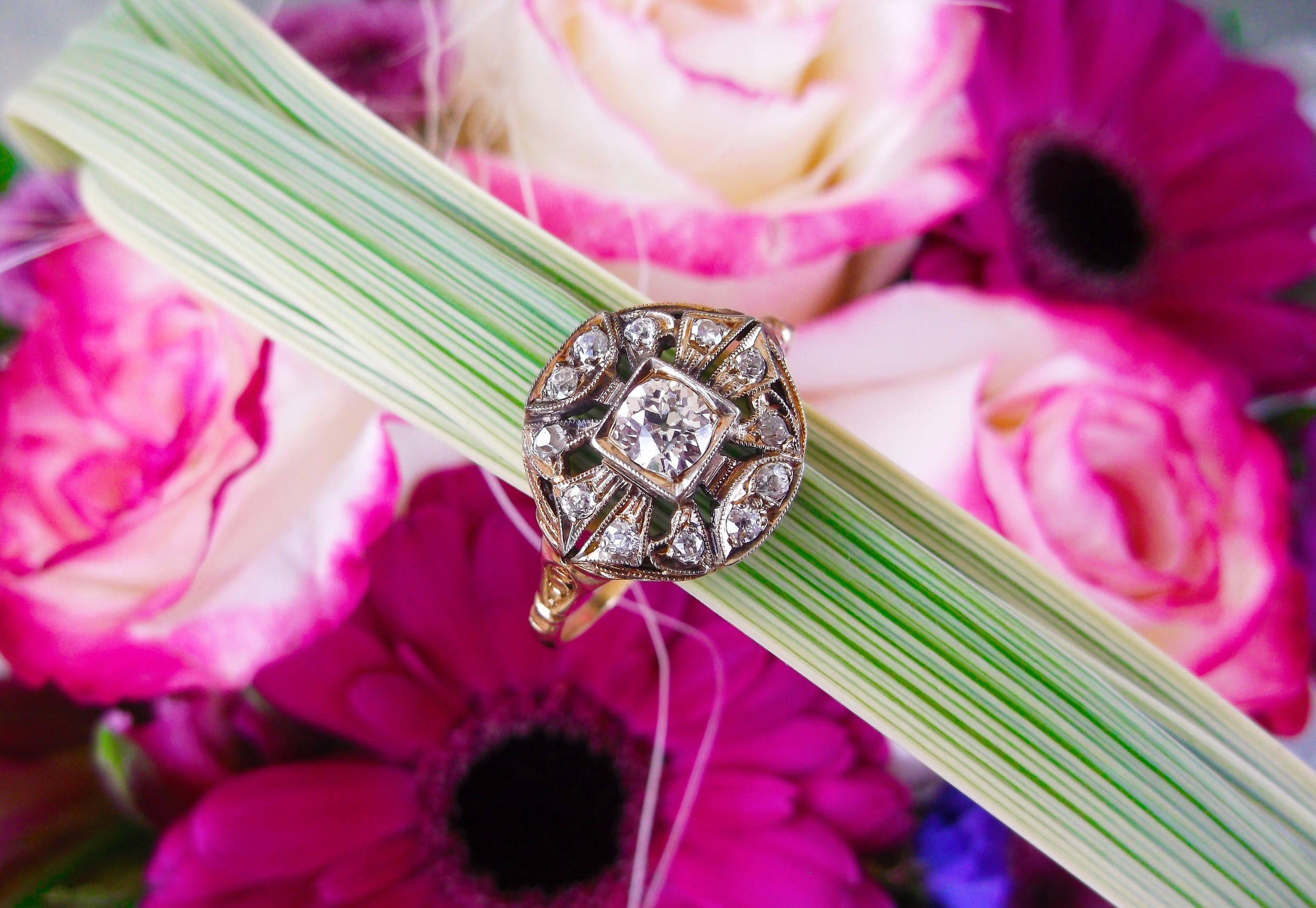 SOLD - All original Victorian Era diamond and yellow gold ring with a 0.30 carat Old Mine cut diamond in the center.