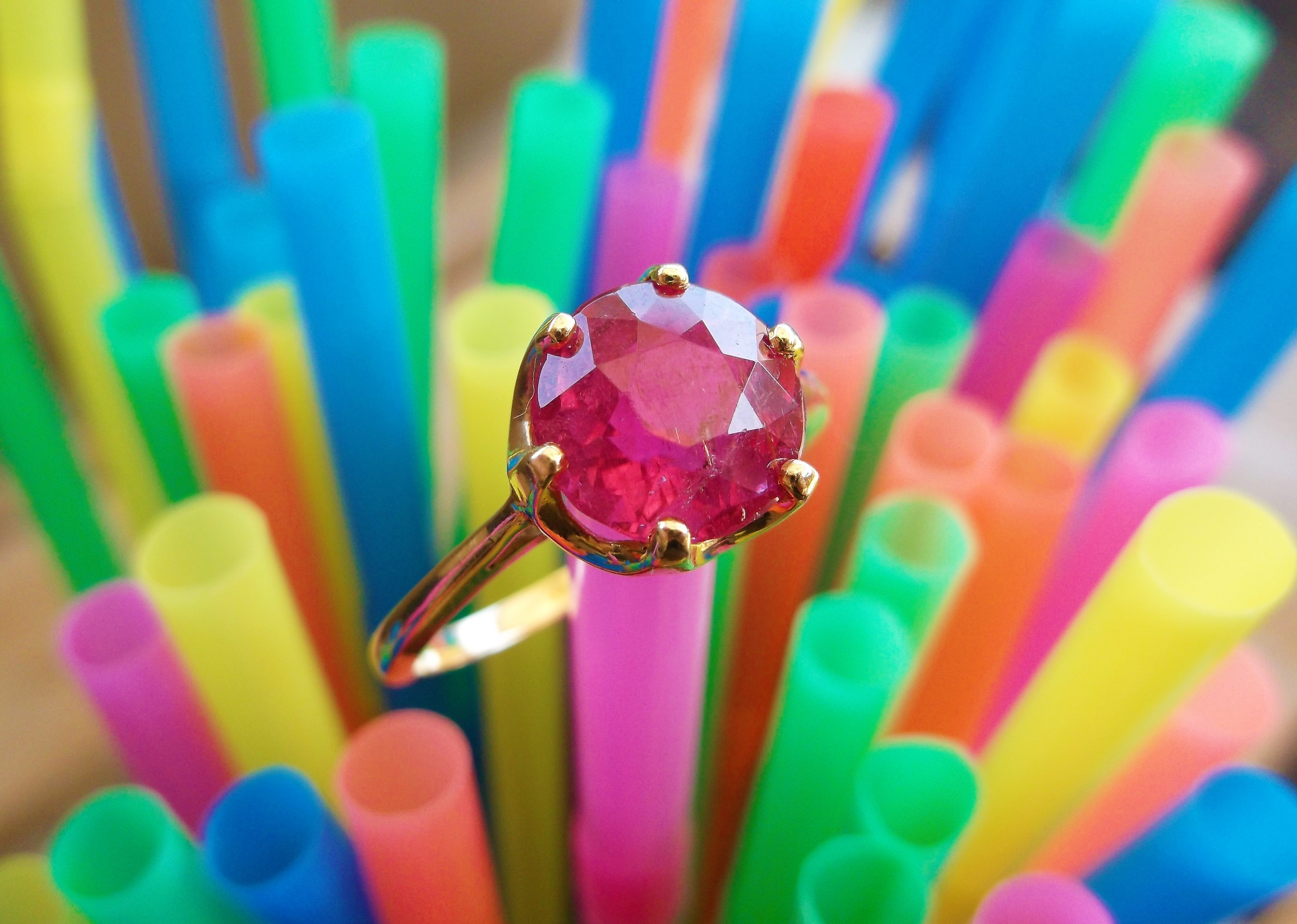 SOLD - Add a pop of pink to your day with this sweet 8.00 carat pink tourmaline set in 14K yellow gold.