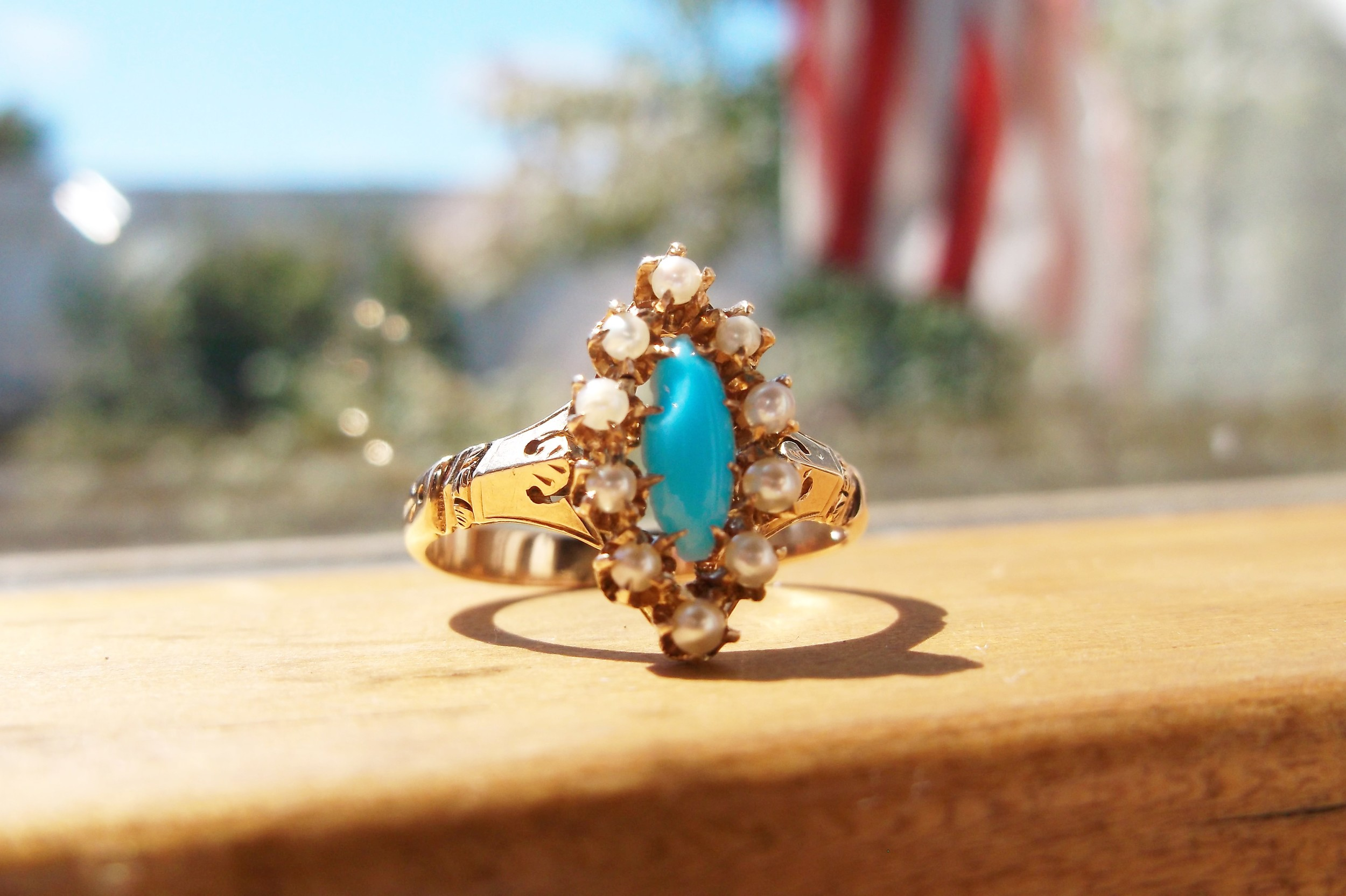 SOLD - Beautiful Victorian turquoise and pearl ring set in yellow gold.