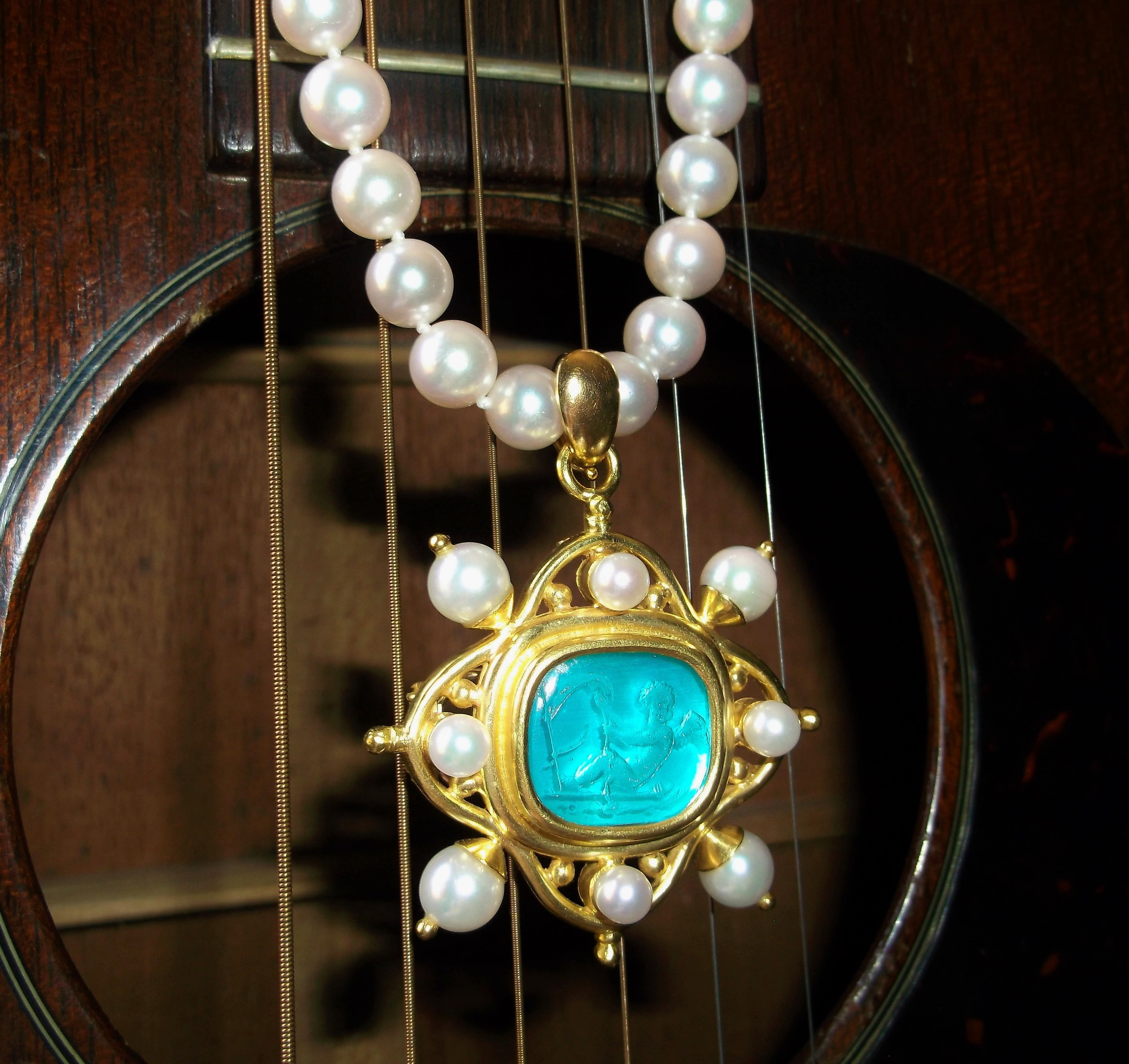 "SOLD - Beautiful signed Elizabeth Locke 19K yellow gold, pearl and carved intaglio Venetian glass pendant/broach on a classic 18"" strand of 7.5-8 mm pearls."