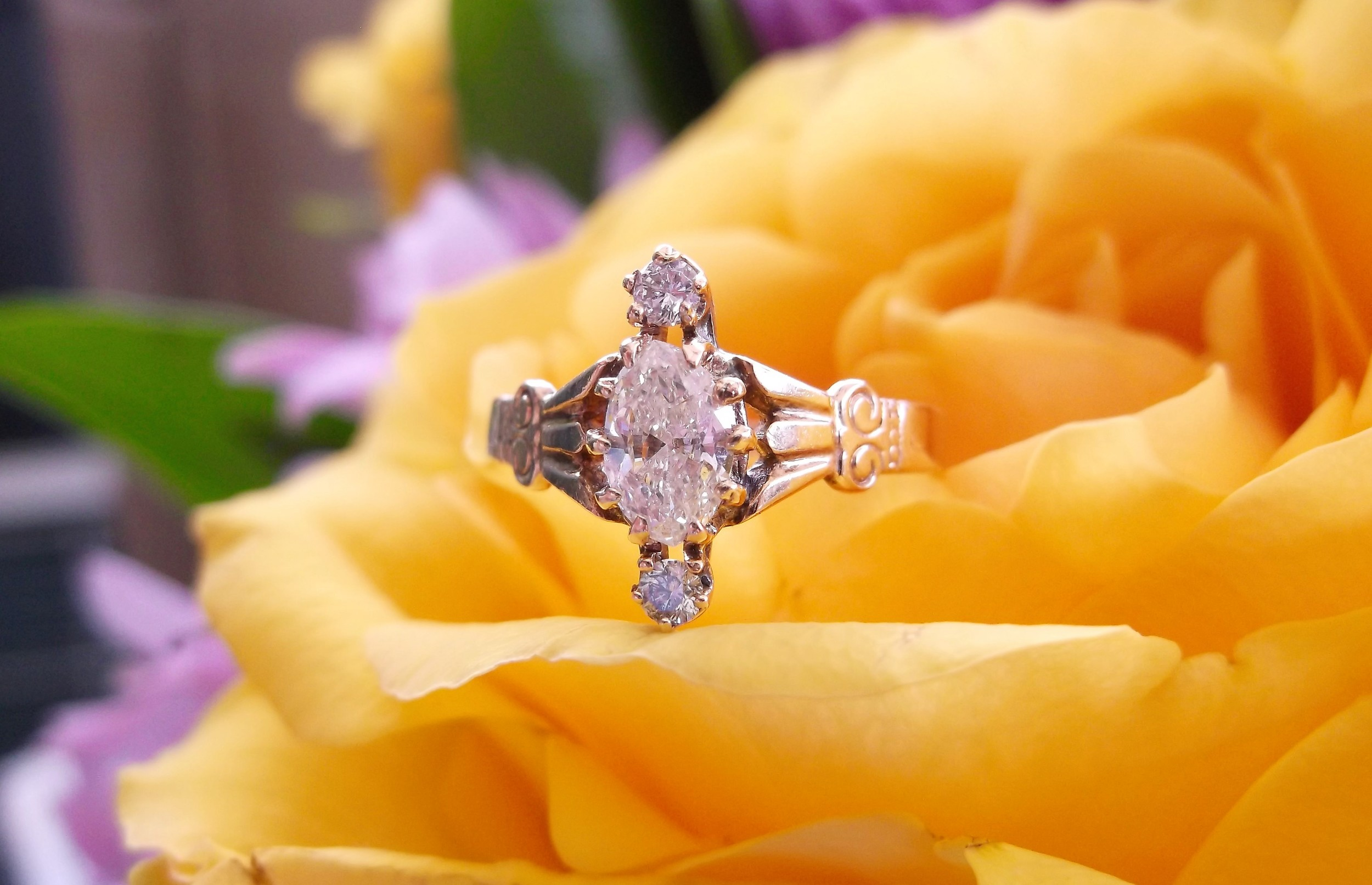 SOLD - Victorian era diamond ring set in yellow gold with a 0.42 carat marquis diamond.