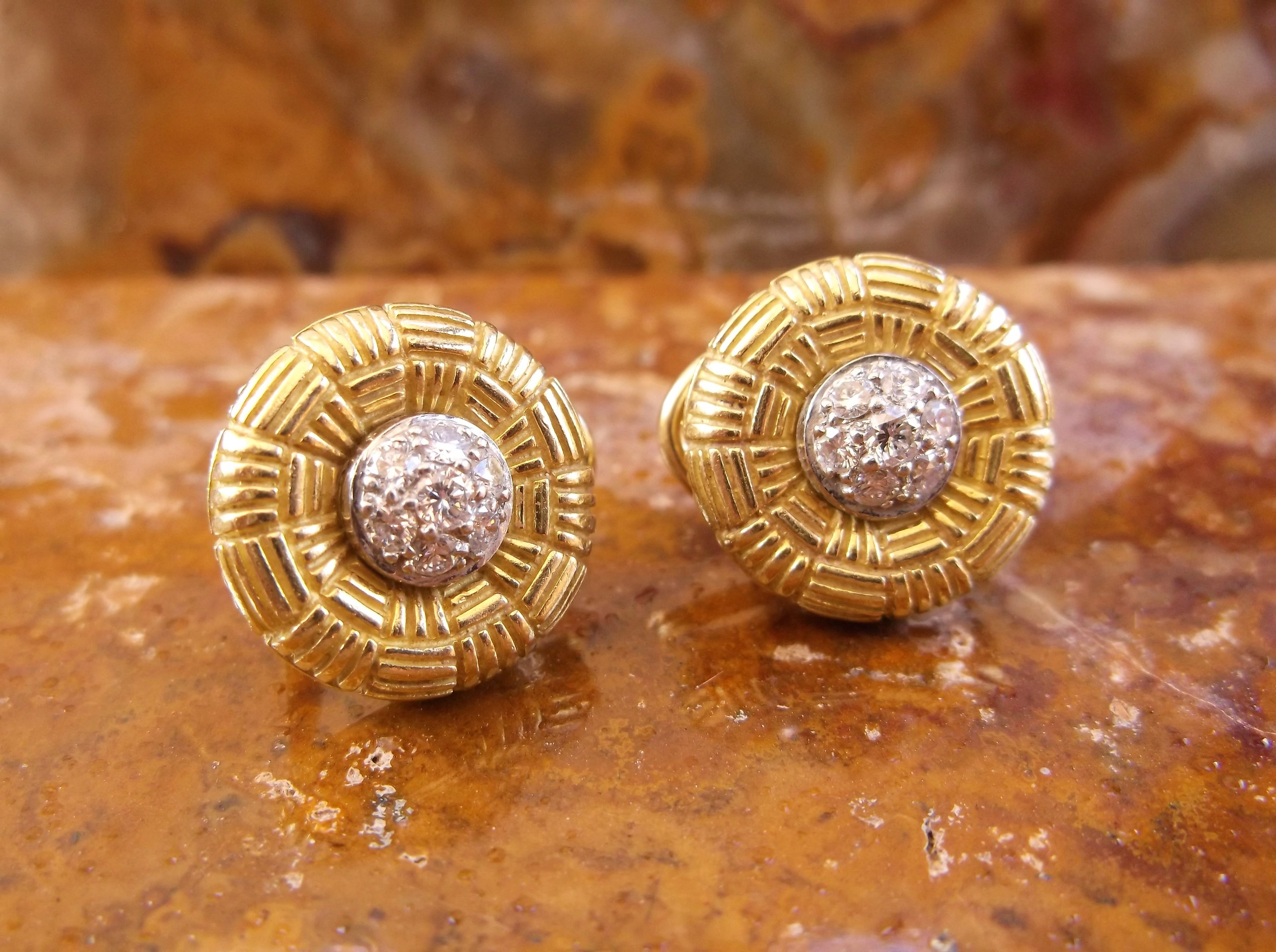 SOLD - The perfect statement stud! 18K yellow gold and diamond cluster earrings with 0.22 carats of diamonds in each.