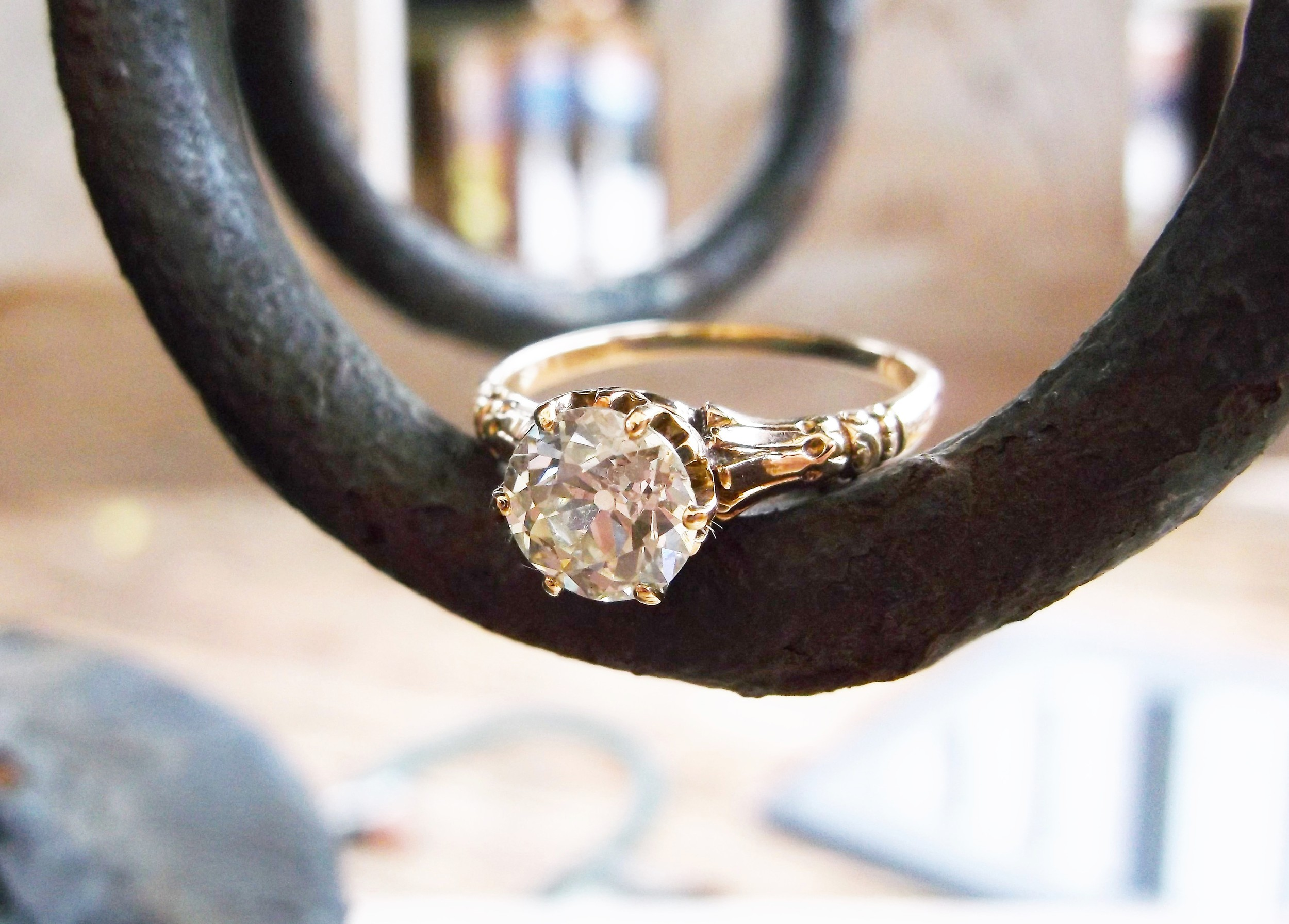 SOLD - Beautiful Victorian Era 1.29 carat Old European cut diamond set in a detailed yellow gold mounting.