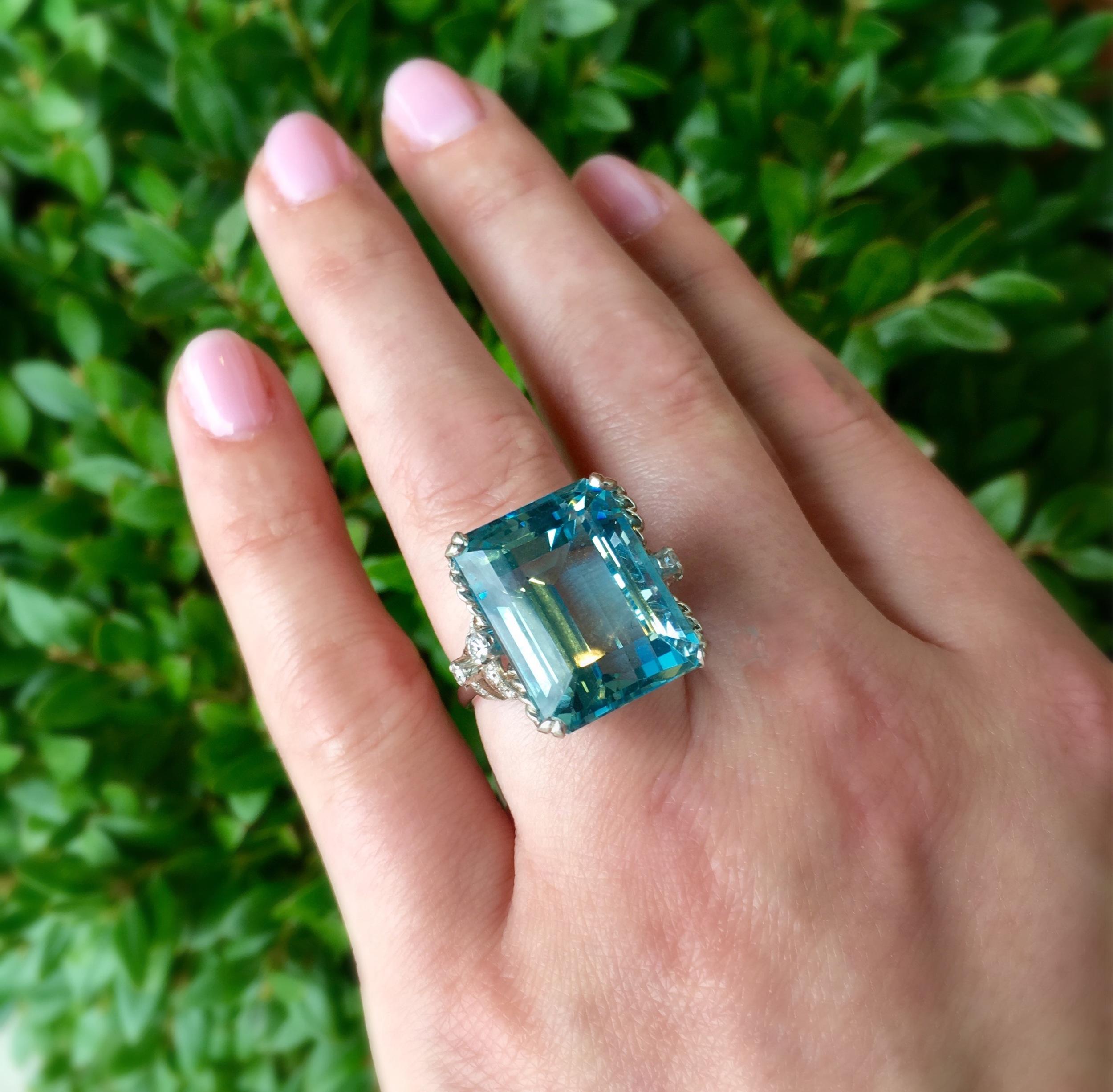 SOLD - Jaw dropping 23+ carat aquamarine, diamond and platinum ring.