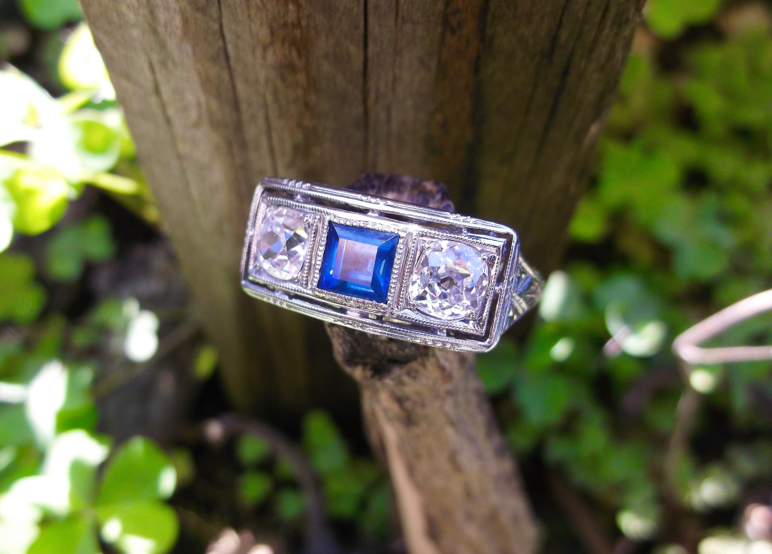 SOLD Beautifully balanced Old Mine cut diamond and sapphire ring with lovely open work and engraving details.
