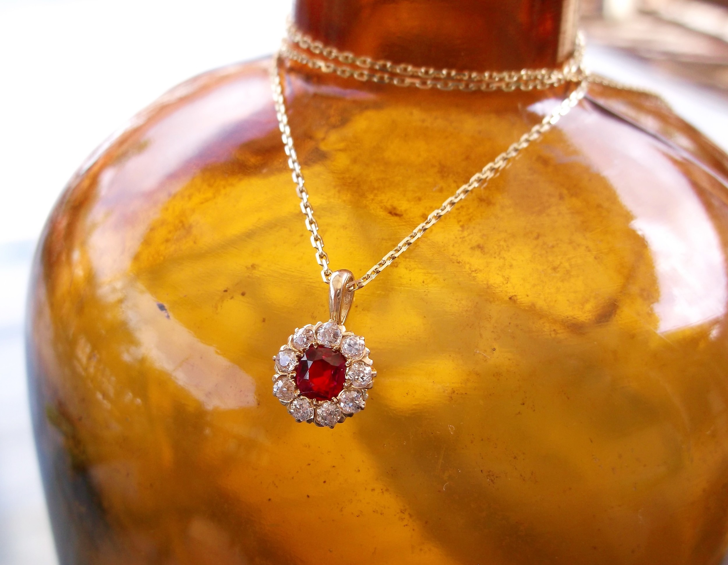 SOLD - Captivating Victorian era ruby, diamond and yellow gold pendant.