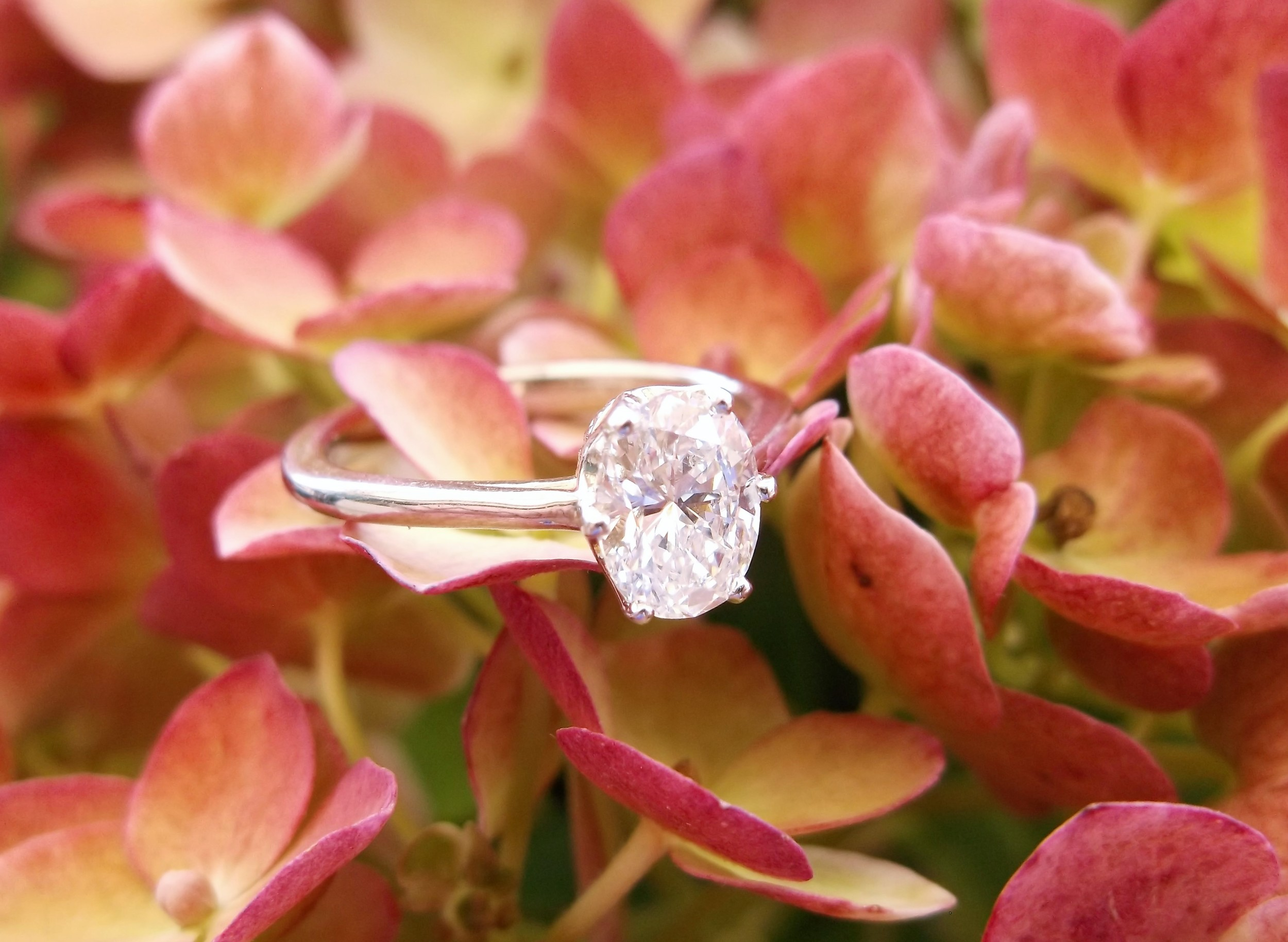 SOLD - A classic engagement ring look, with a little twist! 0.78 carat oval cut diamond set in a white gold, six prong solitaire setting.