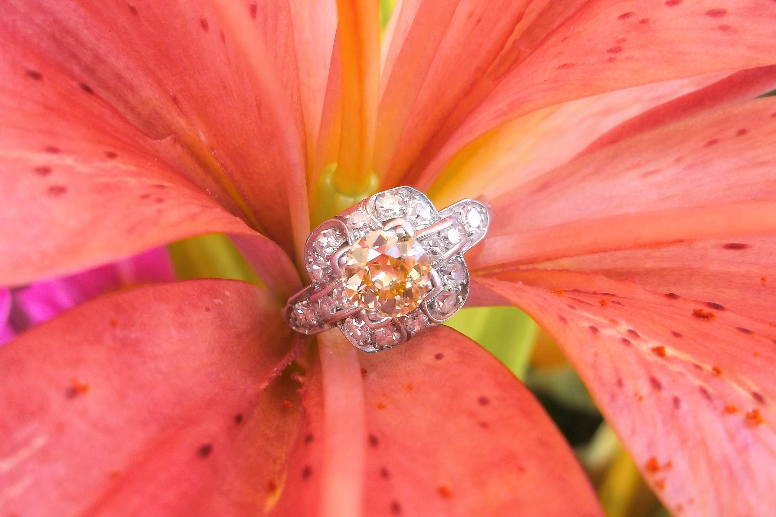 SOLD - Whimsical 0.62 carat Old Mine cut diamond set in an Art Deco diamond and platinum mounting.