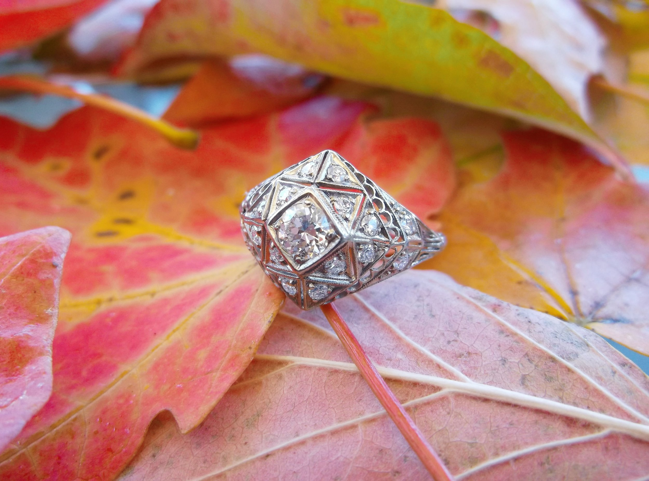 SOLD - Intricate Art Deco diamond ring, set with a 0.50 carat Old Mine cut diamond in the center.